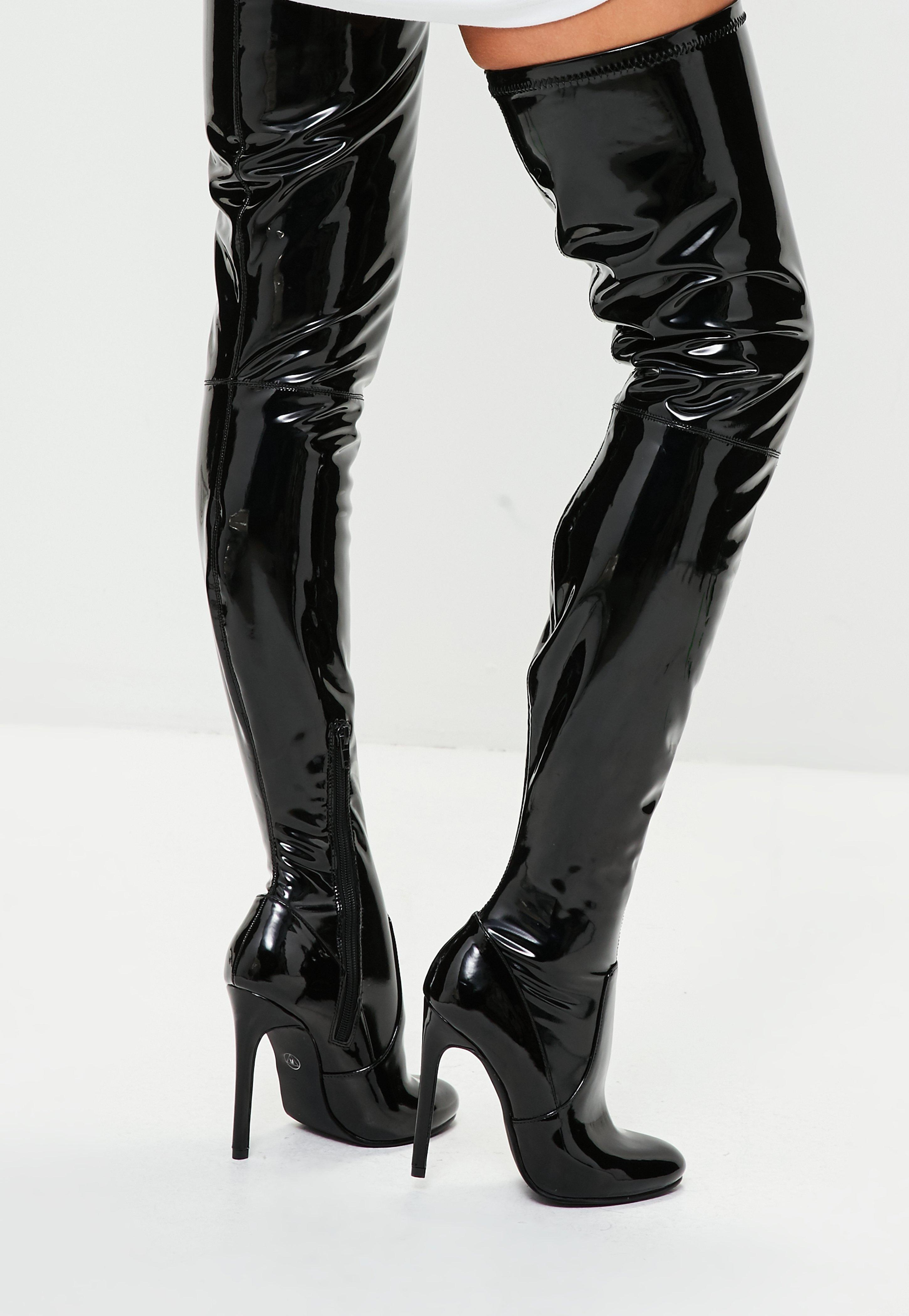 acd2078781a4 Lyst - Missguided Black Vinyl Thigh High Boots in Black