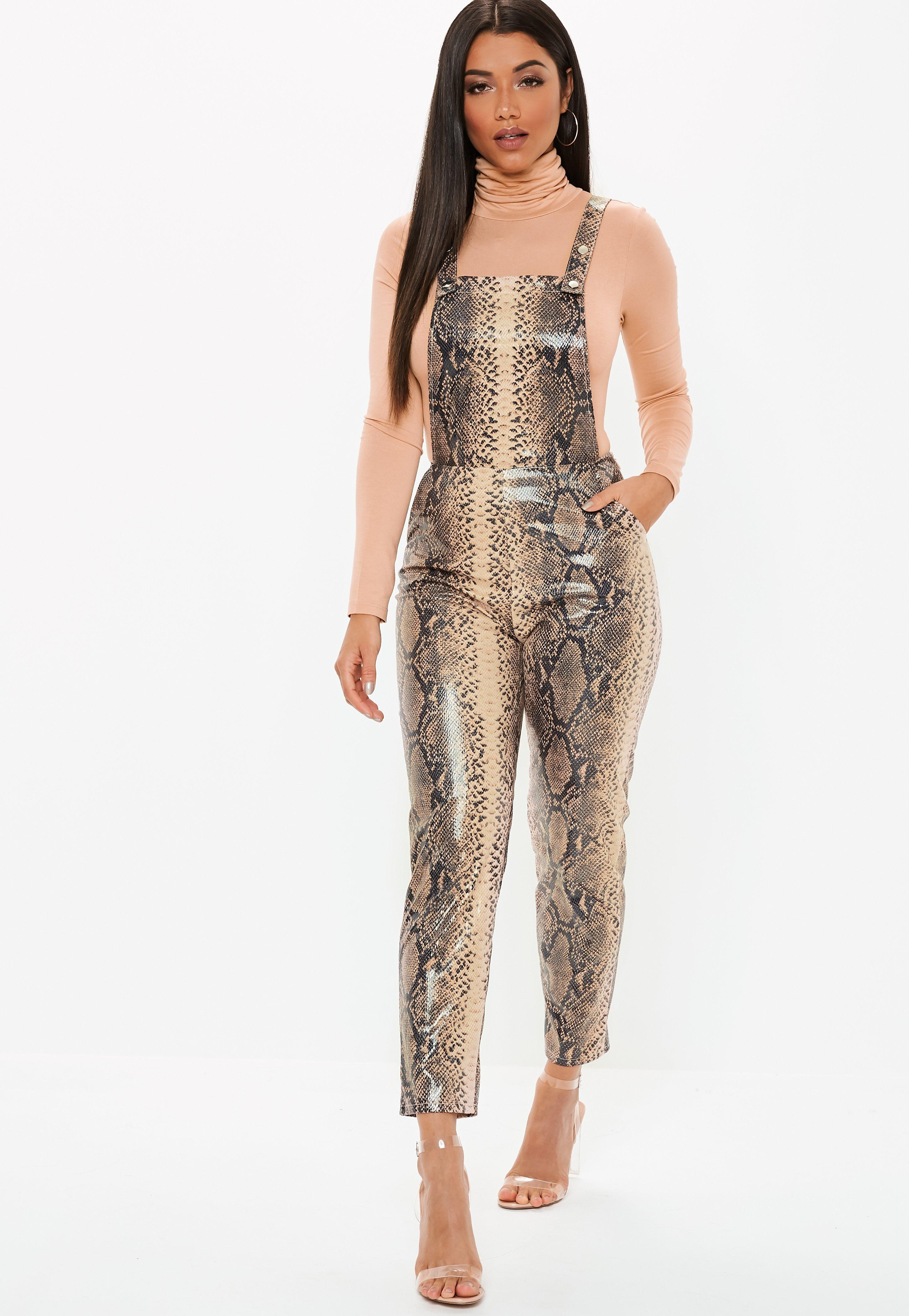 b8ba983d7c Lyst - Missguided Brown Faux Leather Snake Print Dungaree Jumpsuit ...