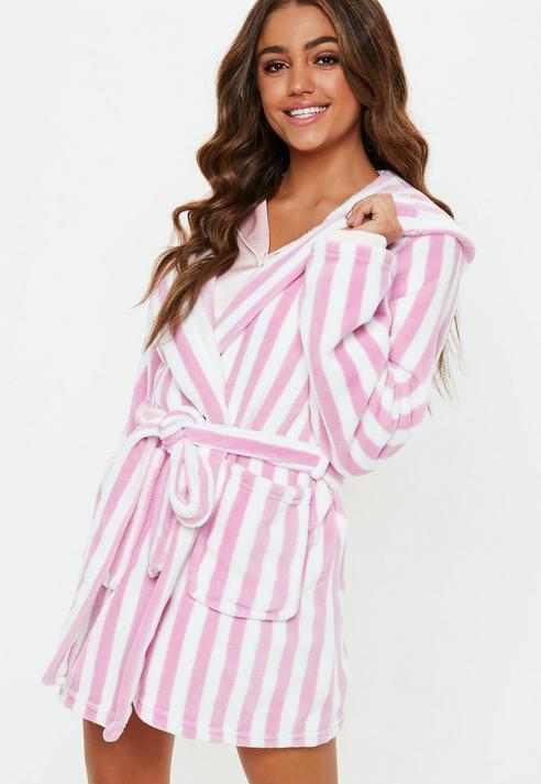 382839a990 Missguided Pink Stripe Fluffy Dressing Gown in Pink - Lyst