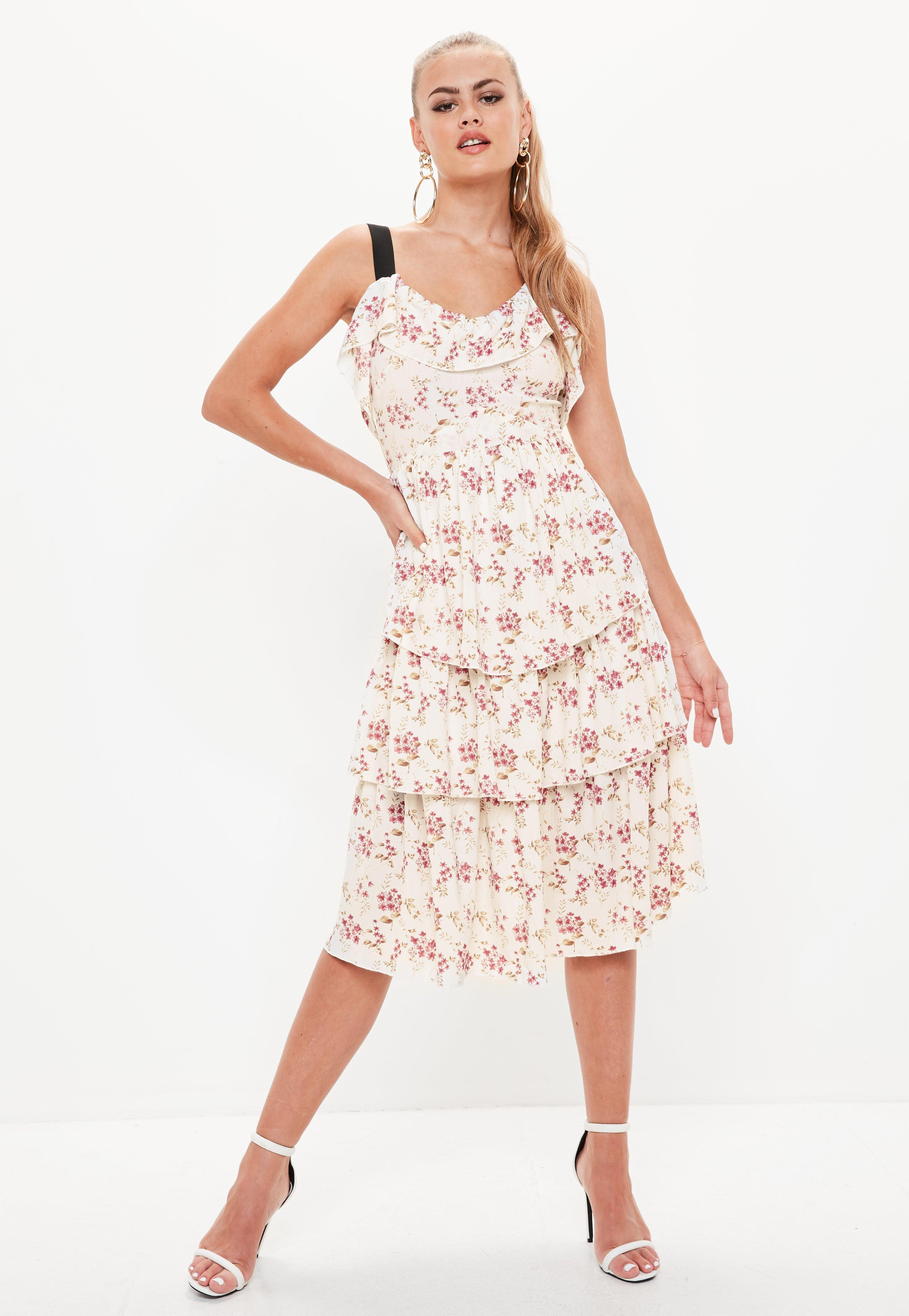 a261cd7a7 Missguided. Women's Cream Tiered Frill Floral Midi Dress