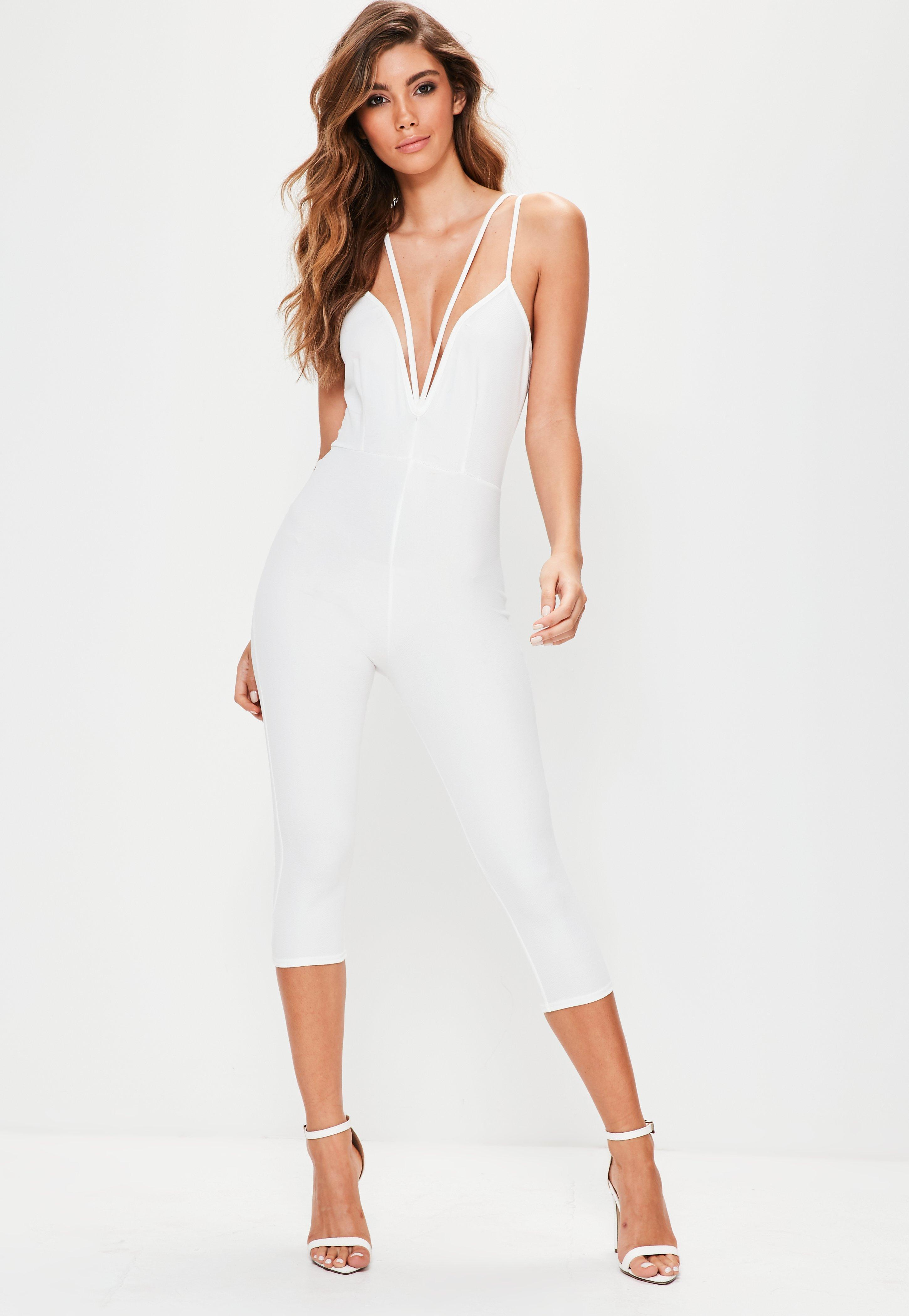 f0d9571c38a Lyst - Missguided White Harness Plunge Jumpsuit in White
