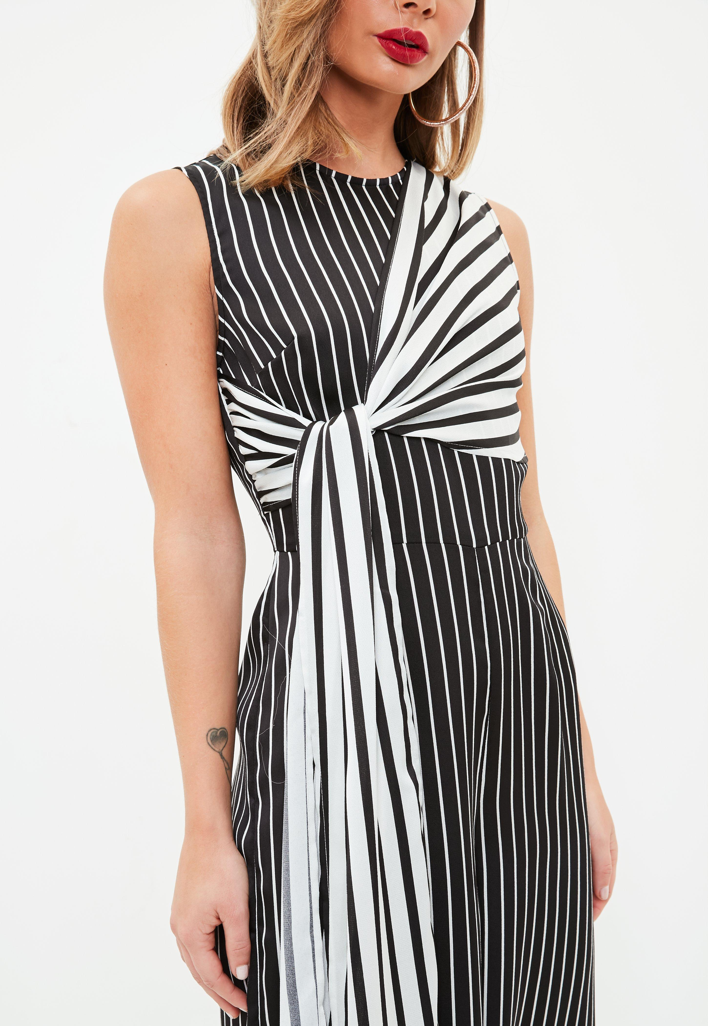 9c5ed7d1c8f4 Lyst - Missguided Black And White Stripe Culottes Jumpsuit in Black