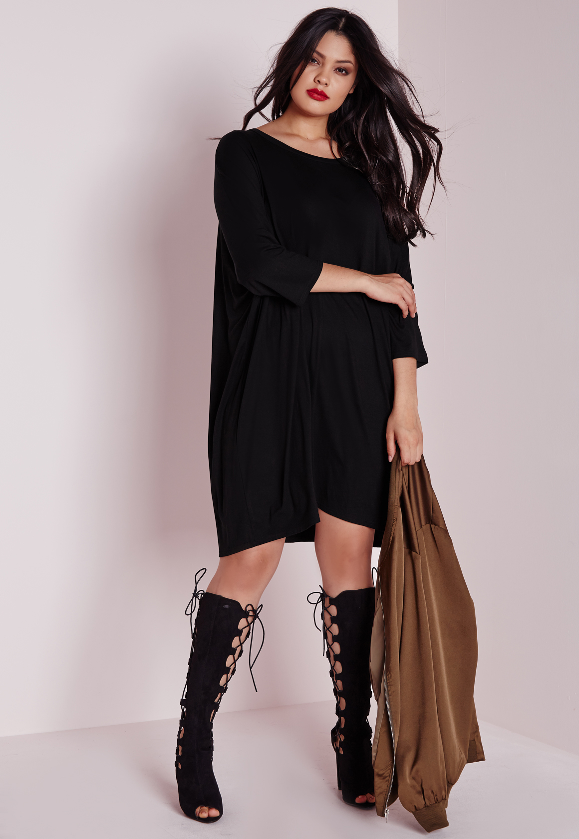 Missguided Plus Size Oversized T-shirt Dress Black in ...