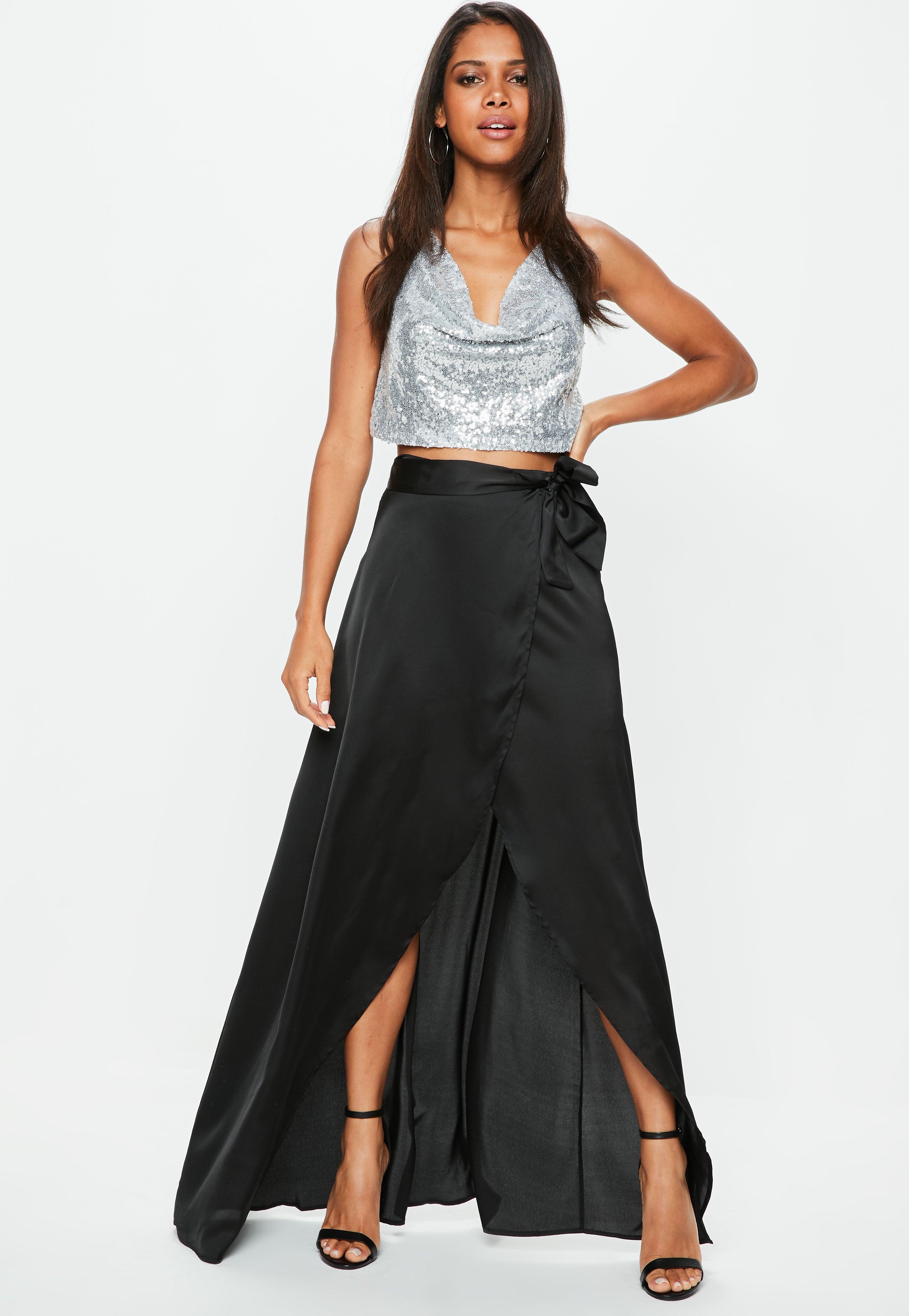 d96672f24e Missguided Black Satin Split Tie Side Maxi Skirt in Black - Lyst
