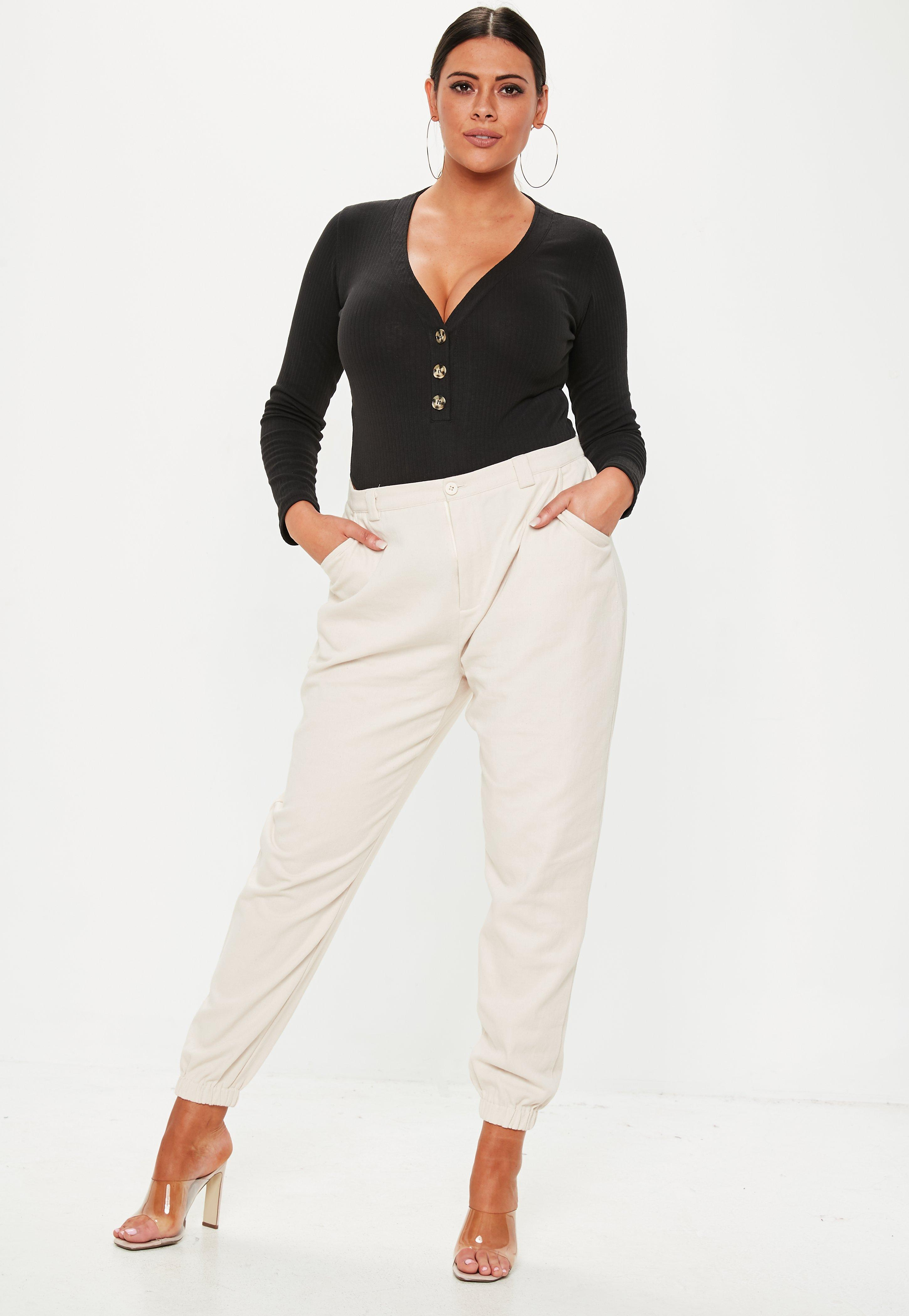 Missguided - Plus Size Black Button Front Bodysuit - Lyst. View fullscreen f87c44804