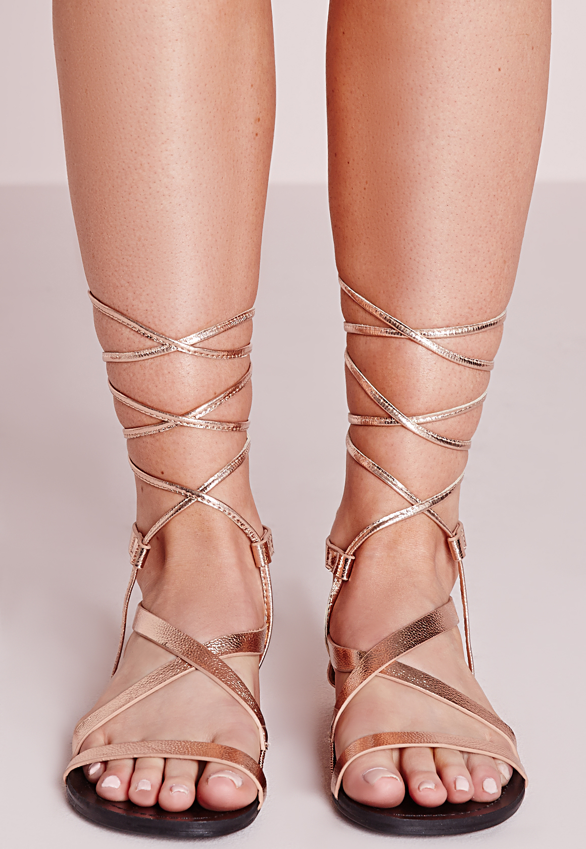 Missguided Strappy Lace Up Flat Sandals Rose Gold In