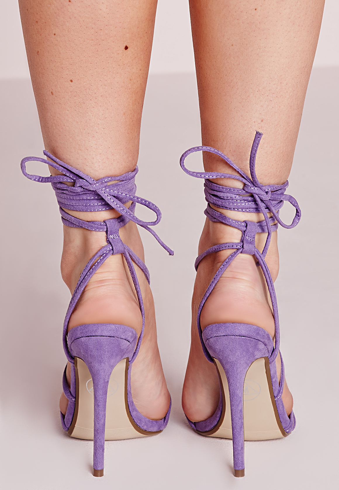 a38c64913a4f Lyst - Missguided Cross Lace Up Barely There Heeled Sandals Lilac in ...
