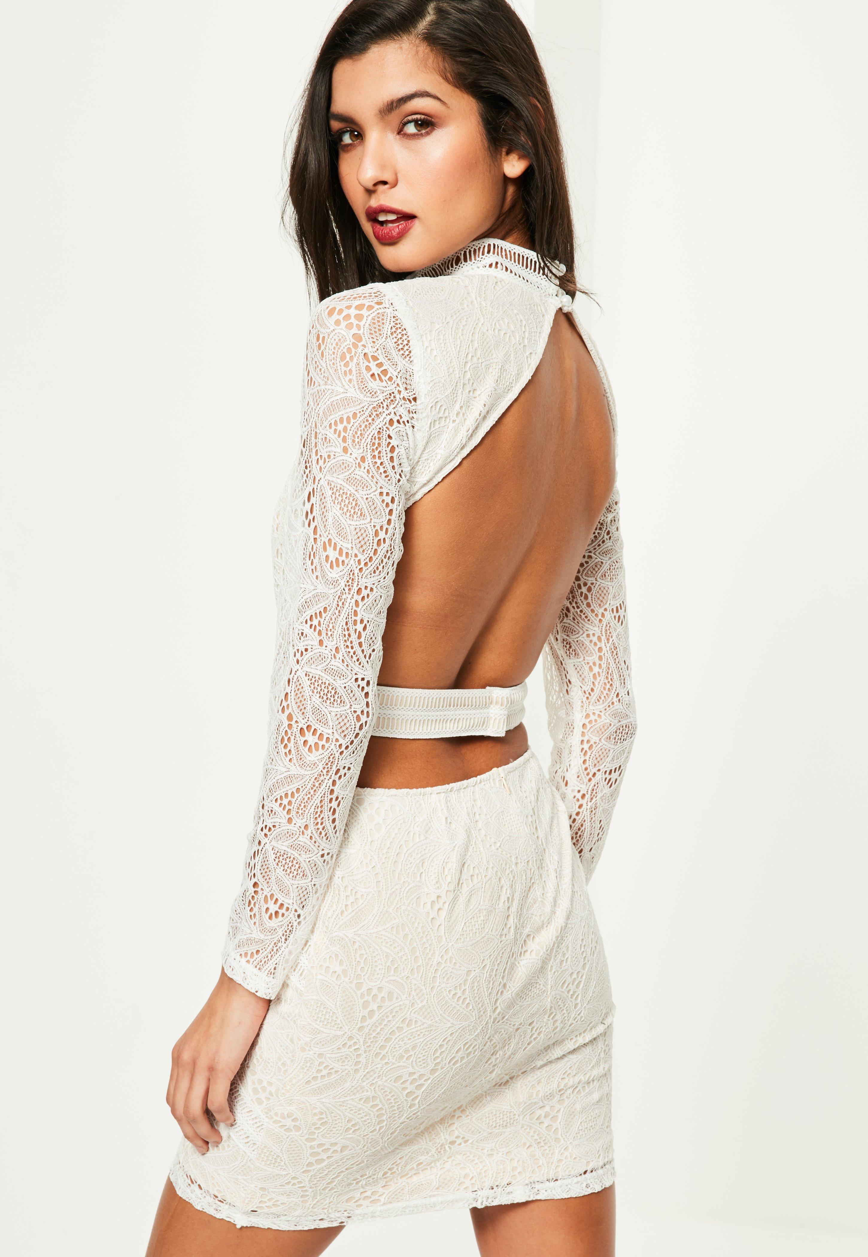c6fc8726b2e3e Missguided Lace Long Sleeve Cut Out Midi Dress White - raveitsafe