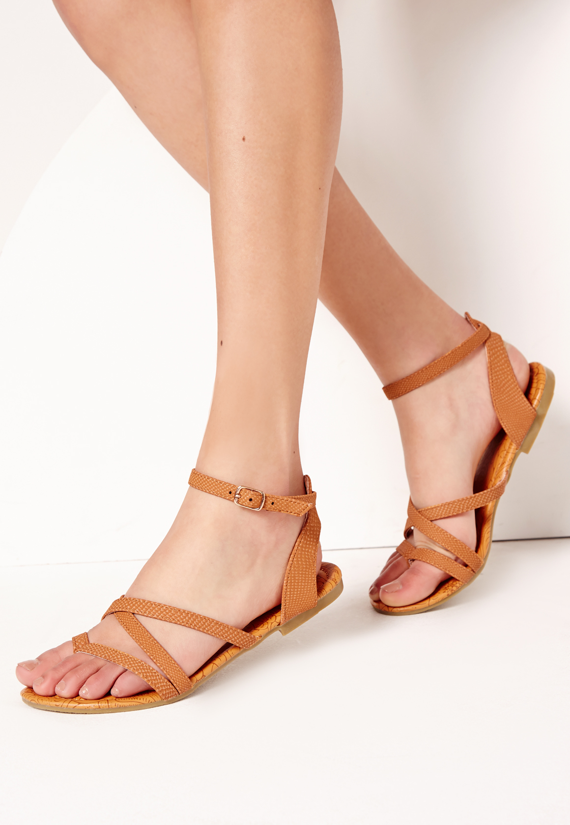 Missguided toe post strappy sandals tan in brown lyst - Missguided head office address ...