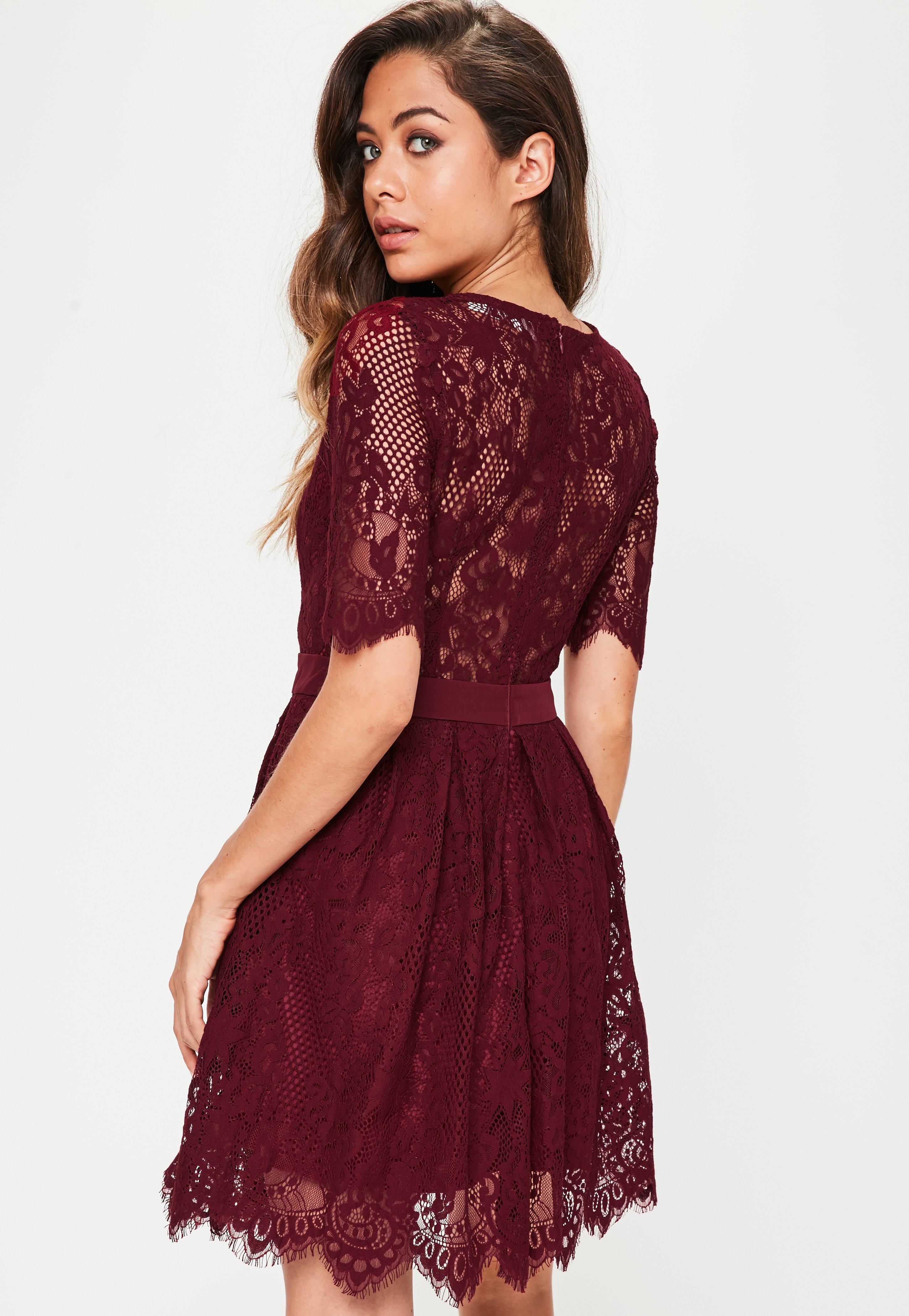 Burgundy Lace Midi Dress