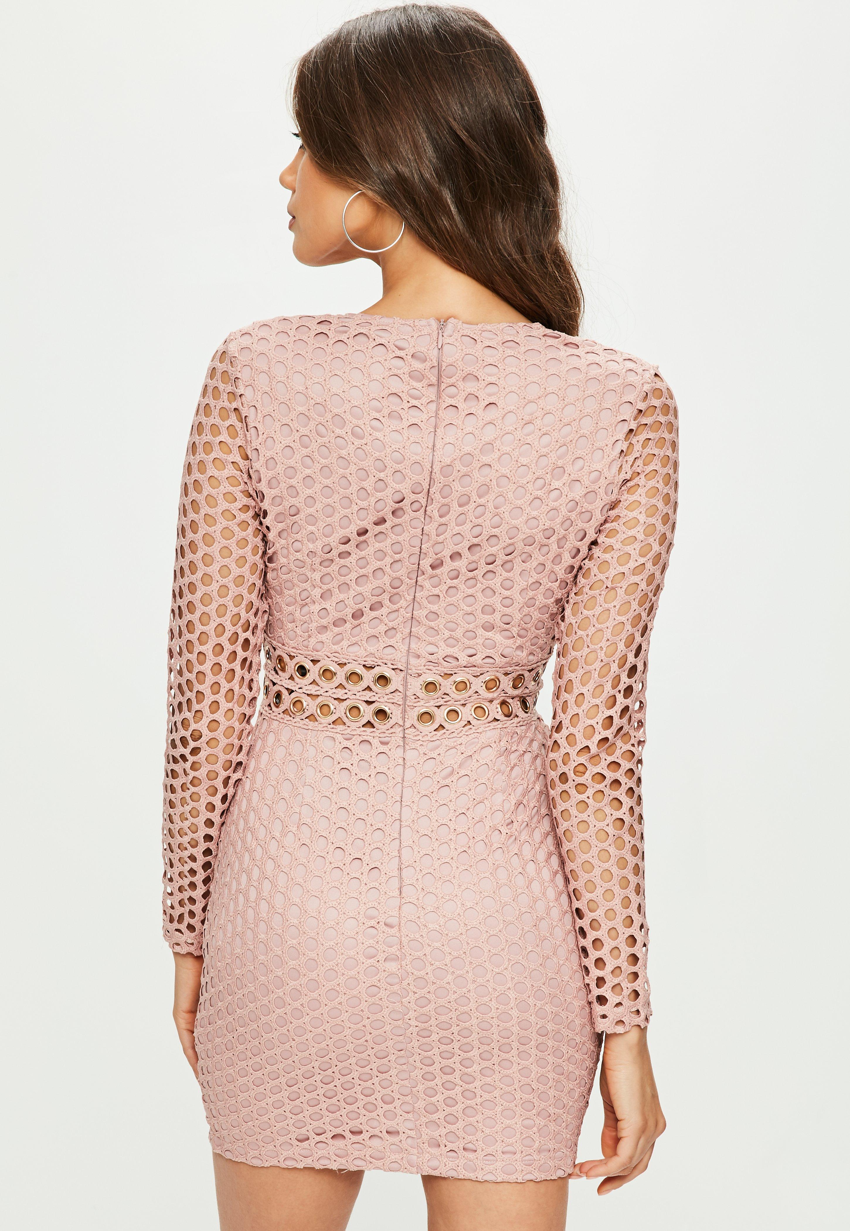 Missguided Pink Lace Plunge Eyelet Detail Longsleeve Bodycon Dress
