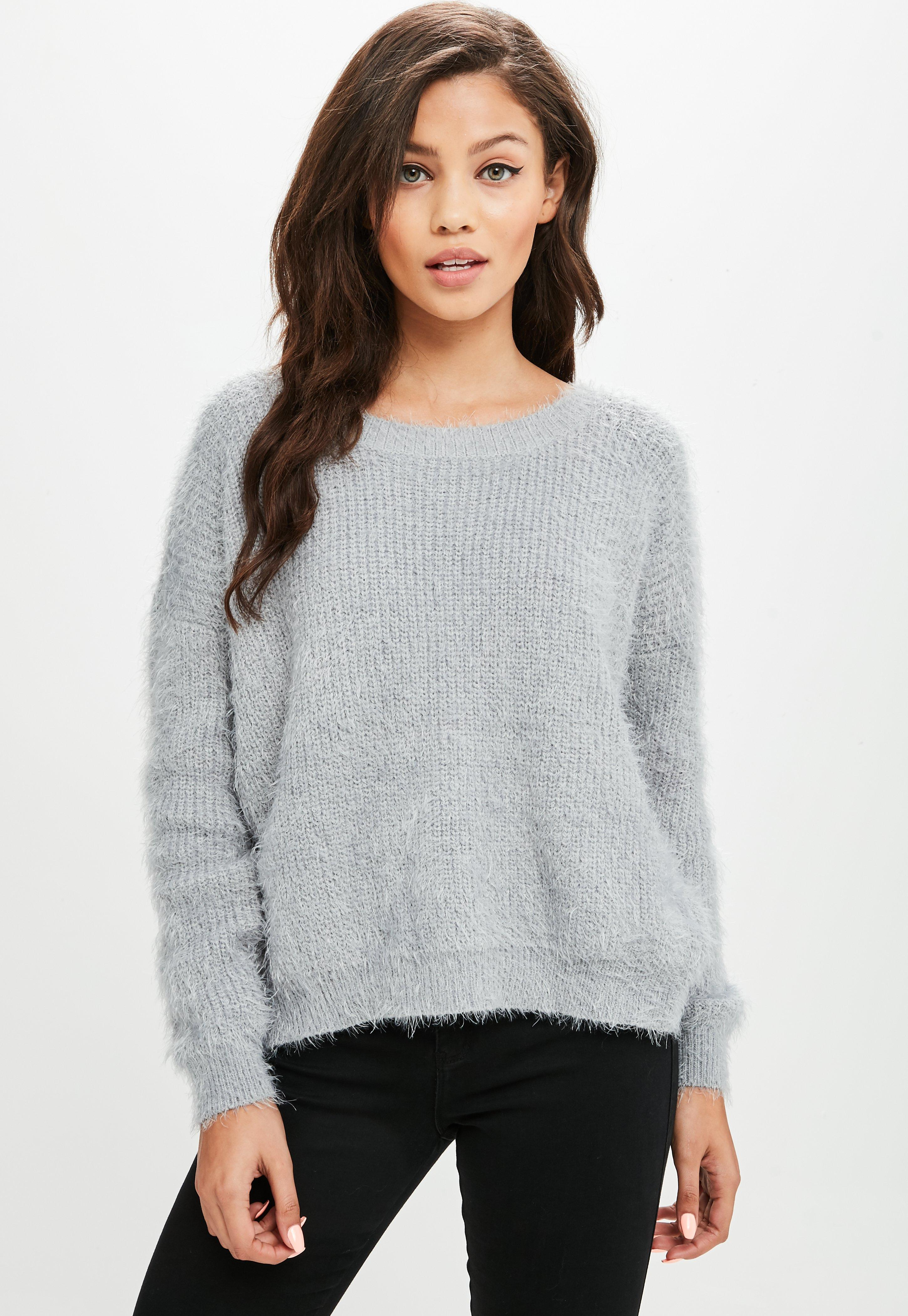 Missguided Synthetic Grey Split Back Jumper in Grey