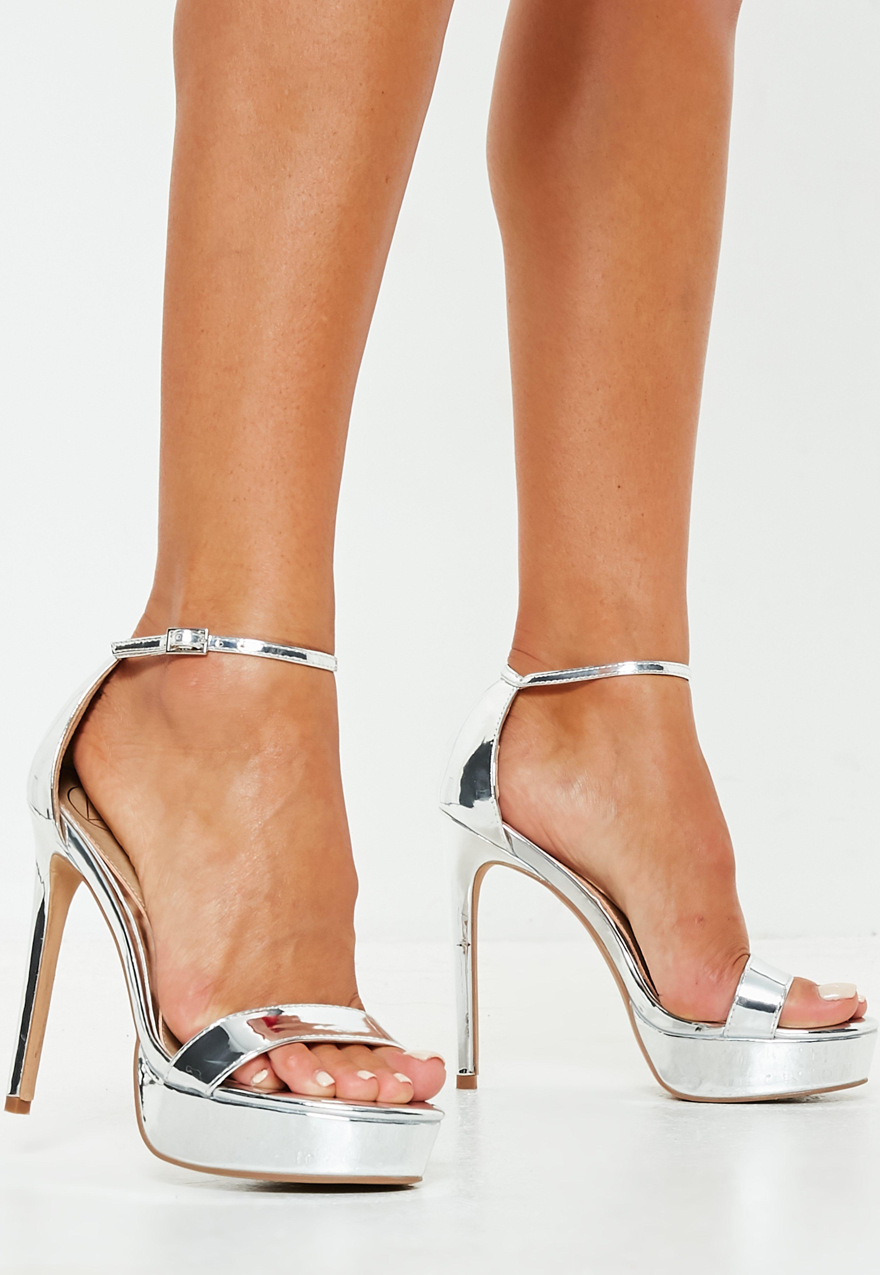 0f2efb3577c866 Lyst - Missguided Silver Simple Strap Platform Sandals in Metallic