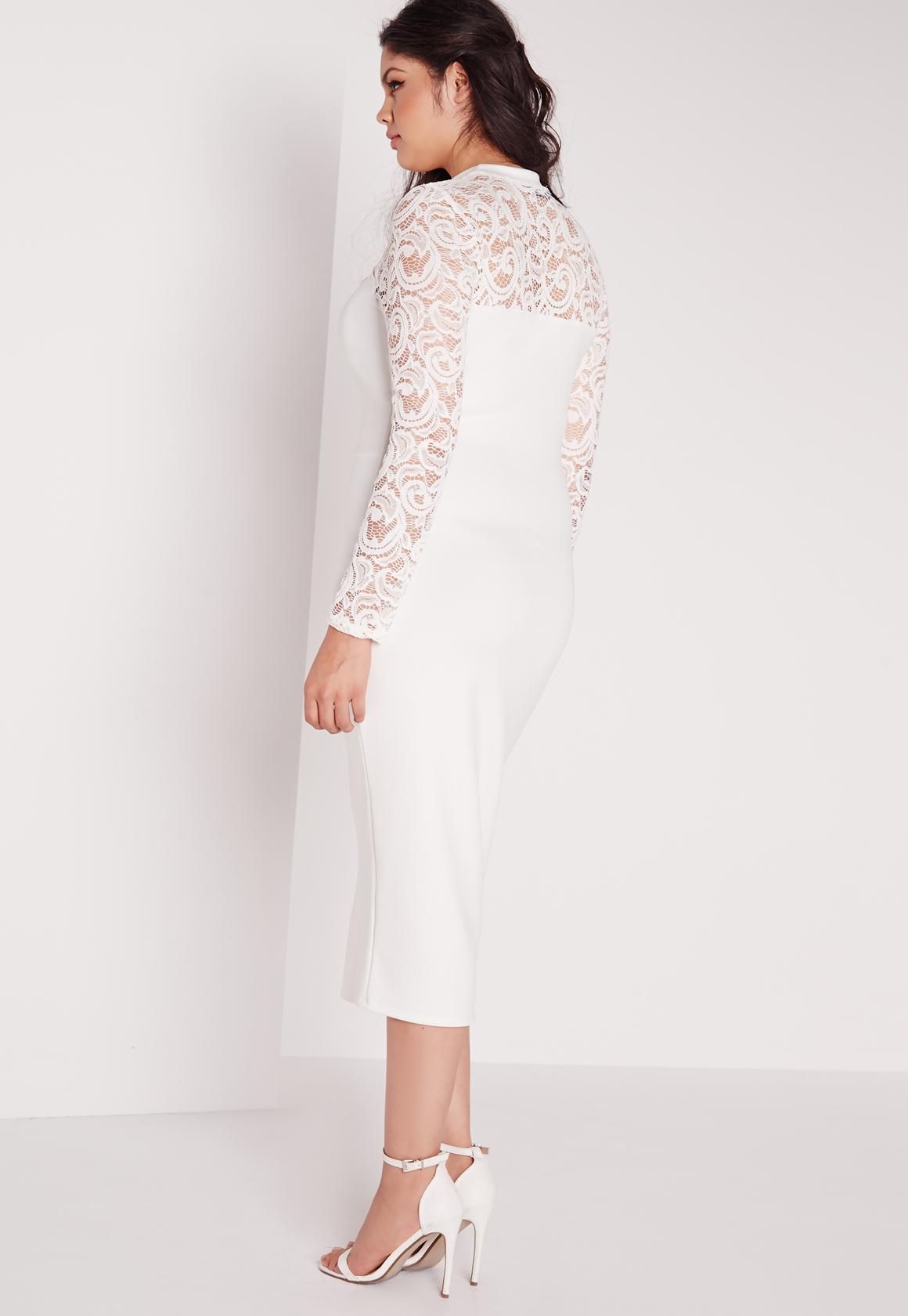 missguided plus size scuba lace midi dress white in white