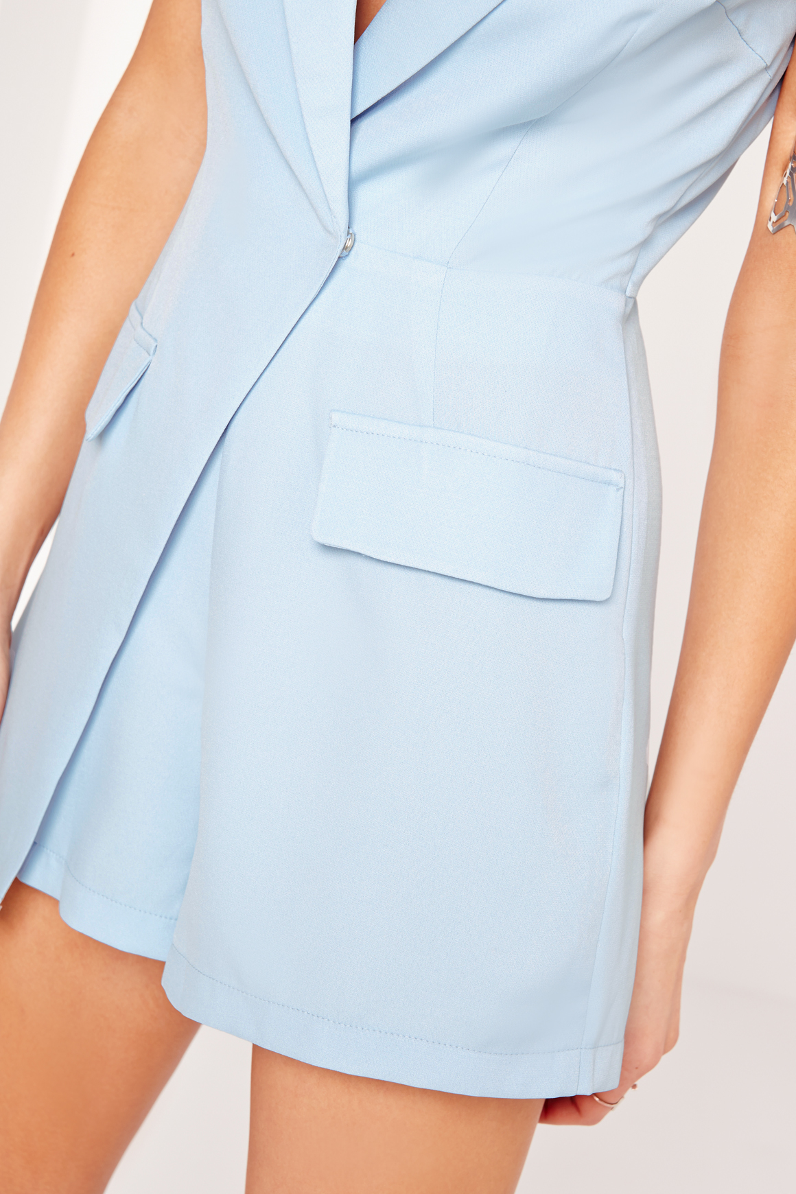 Missguided Sleeveless Blazer Style Playsuit Blue In Blue