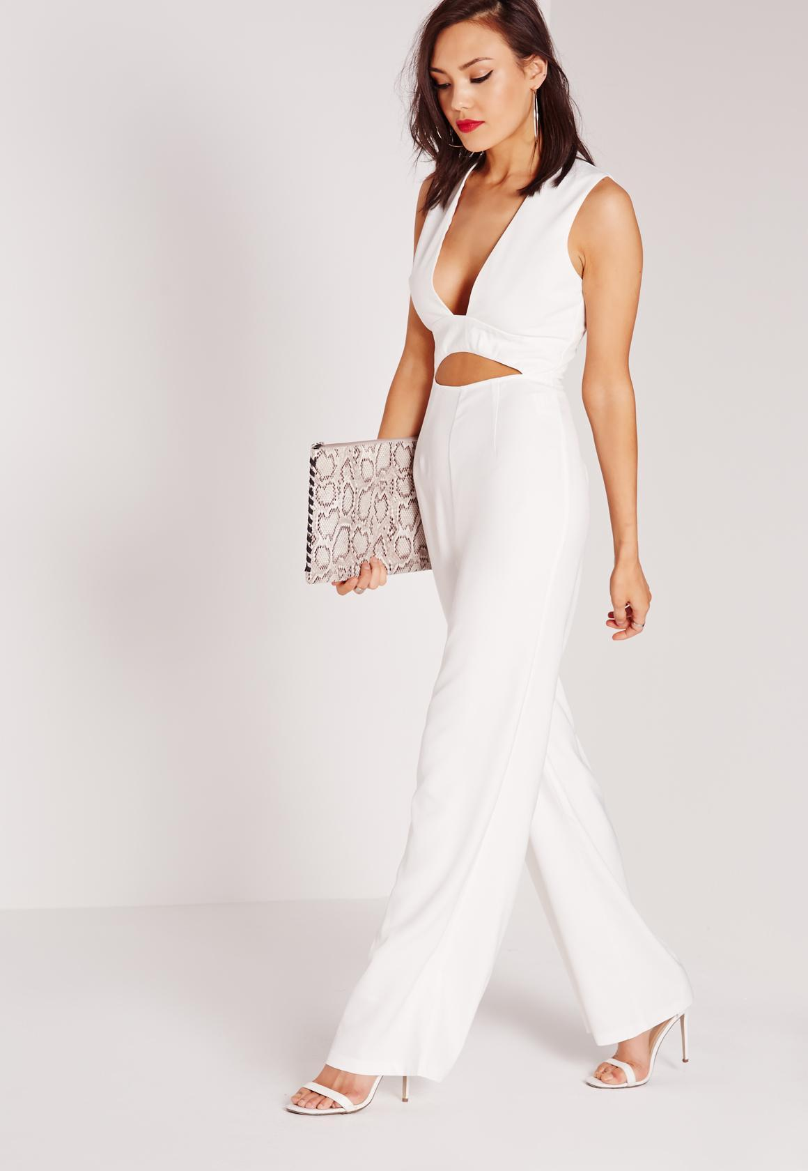 3840bbbc3e0 Missguided Crepe Plunge Waist Cut Out Jumpsuit White in .