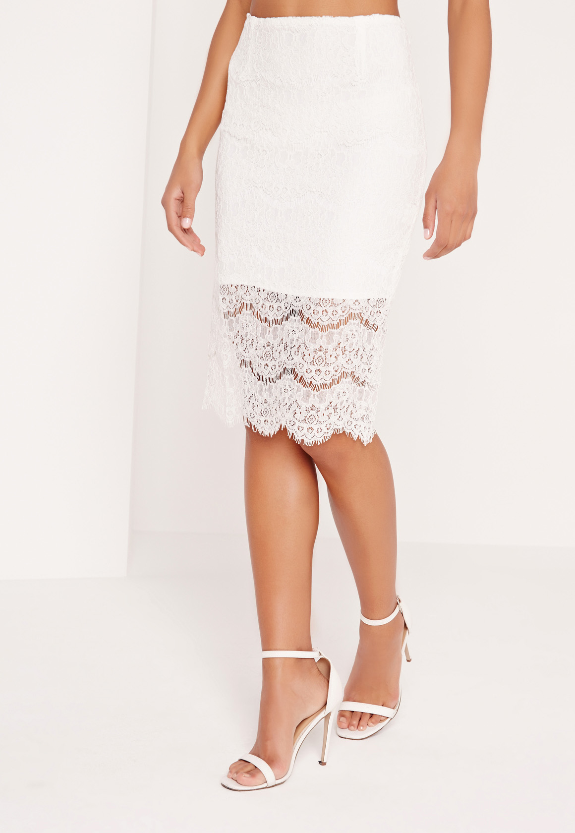 missguided lace bodycon midi skirt white in white lyst