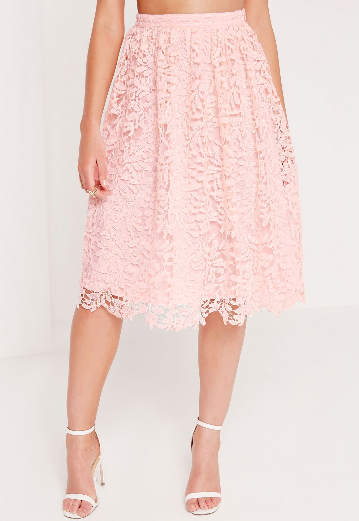 Missguided Crochet Lace Full Midi Skirt Pink in Pink | Lyst