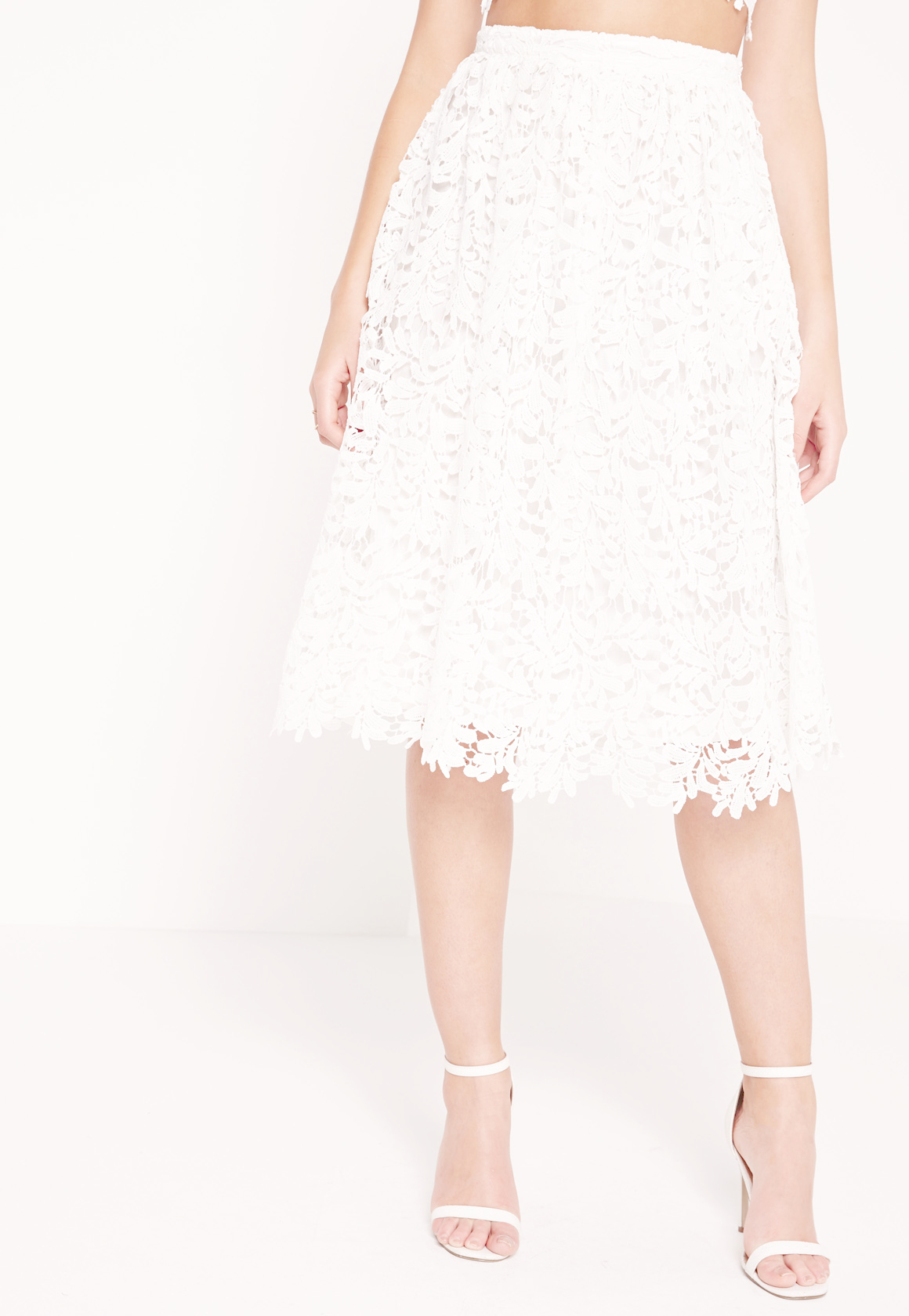 missguided crochet lace midi skirt white in white lyst