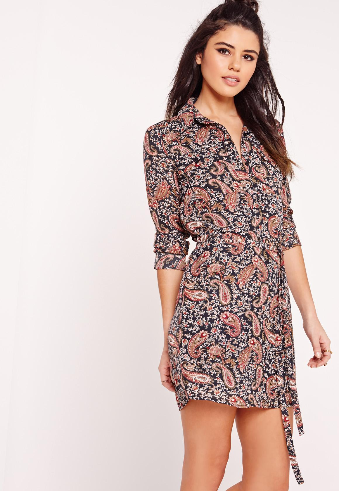 Lyst Missguided Long Sleeve Tie Waist Paisley Print