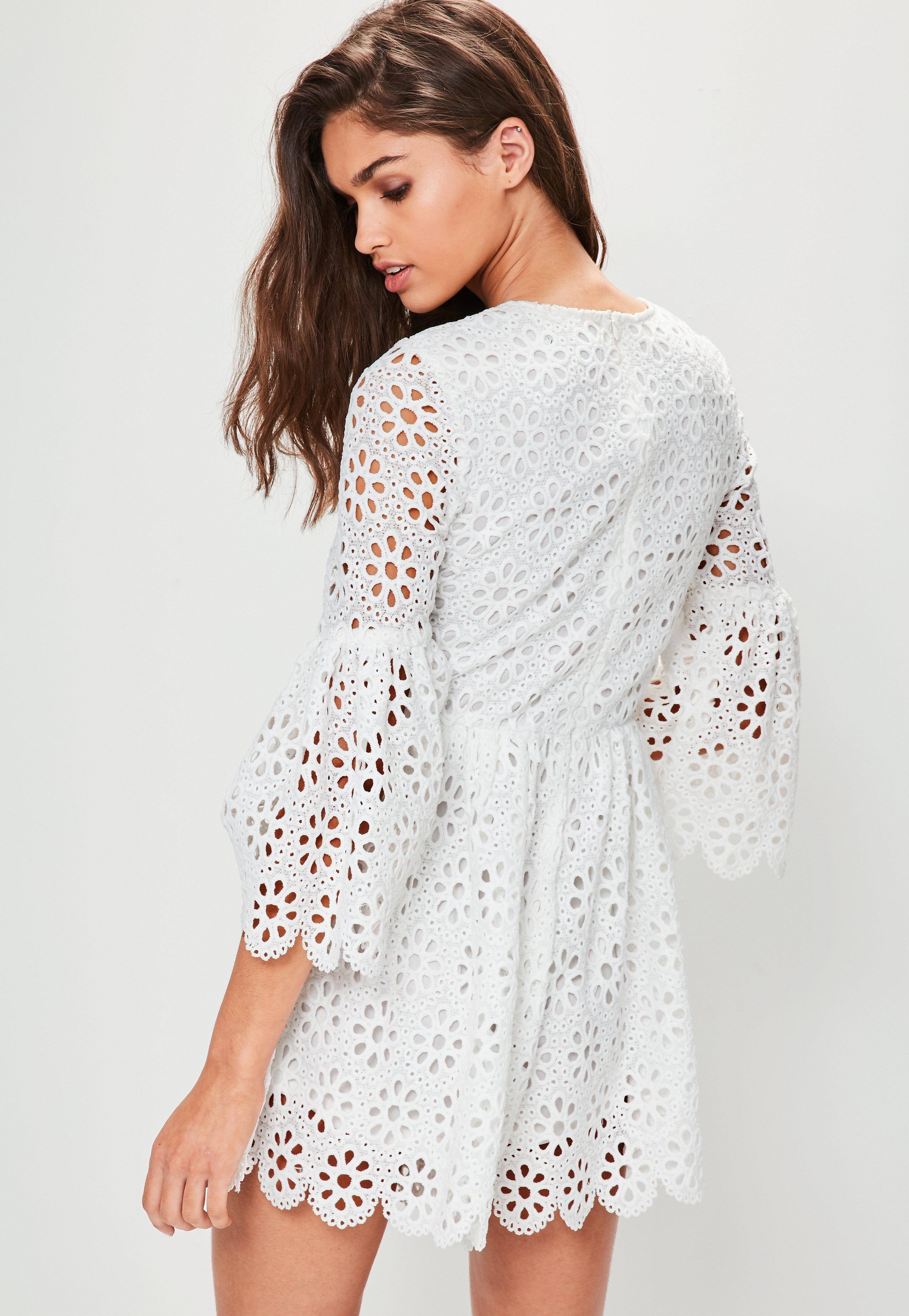 01abd43c70e85 Lyst - Missguided White Crochet Lace Flared Sleeve Playsuit in White