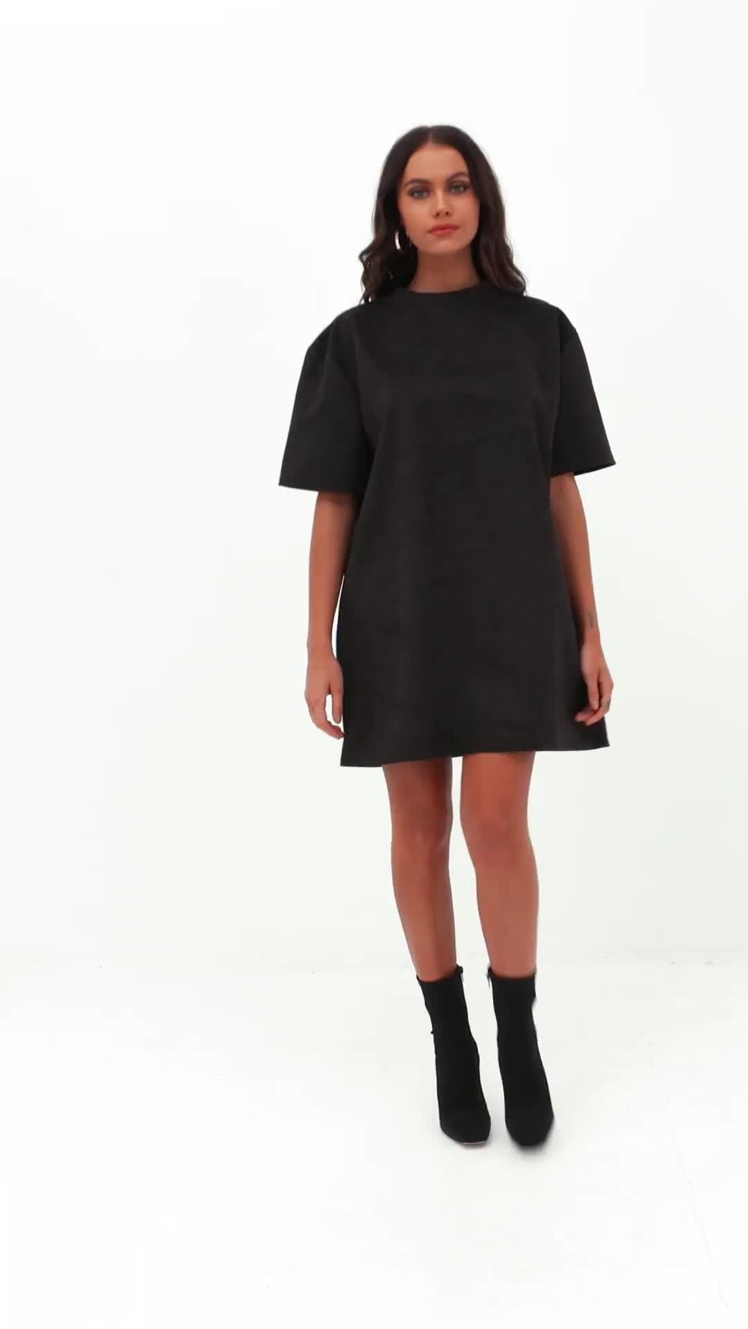 79e6f15a721 Missguided - Black Oversized High Neck Suede Dress - Lyst. View fullscreen