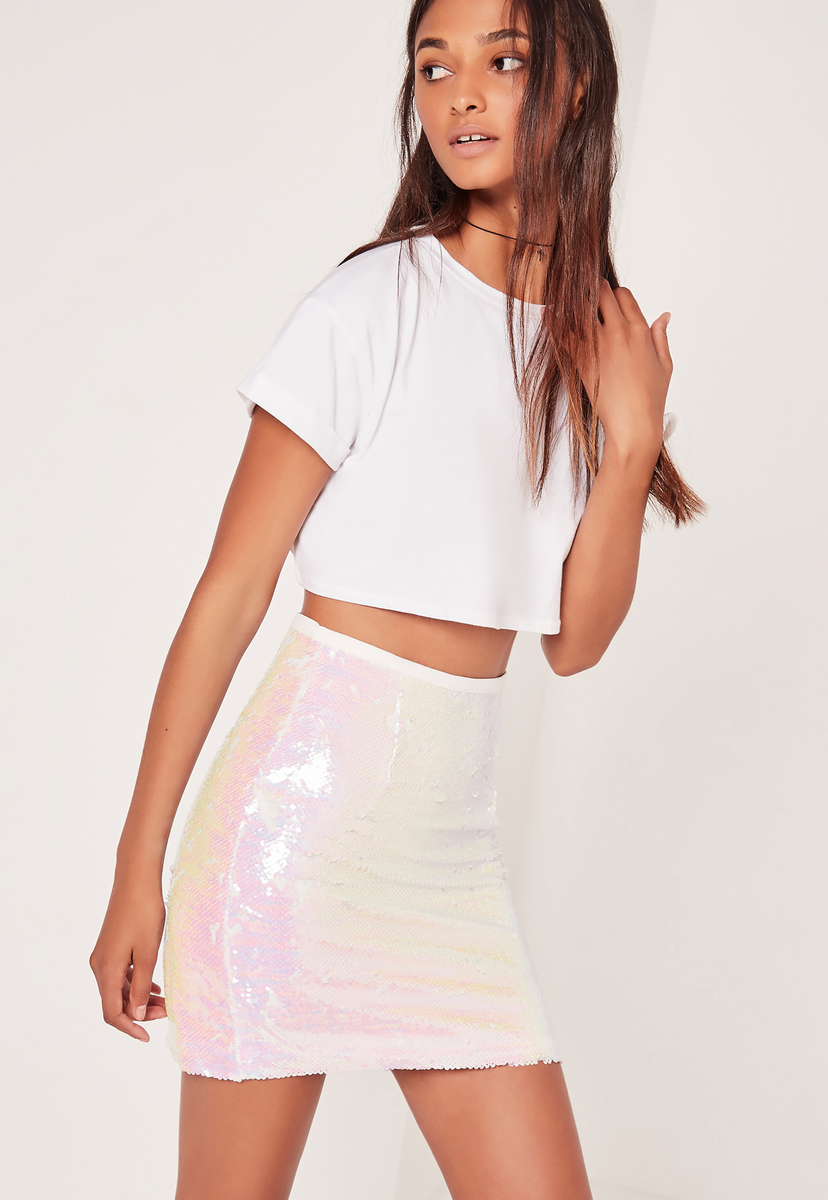 bb2c7364fb Lyst - Missguided Iridescent Sequin Mini Skirt in Pink