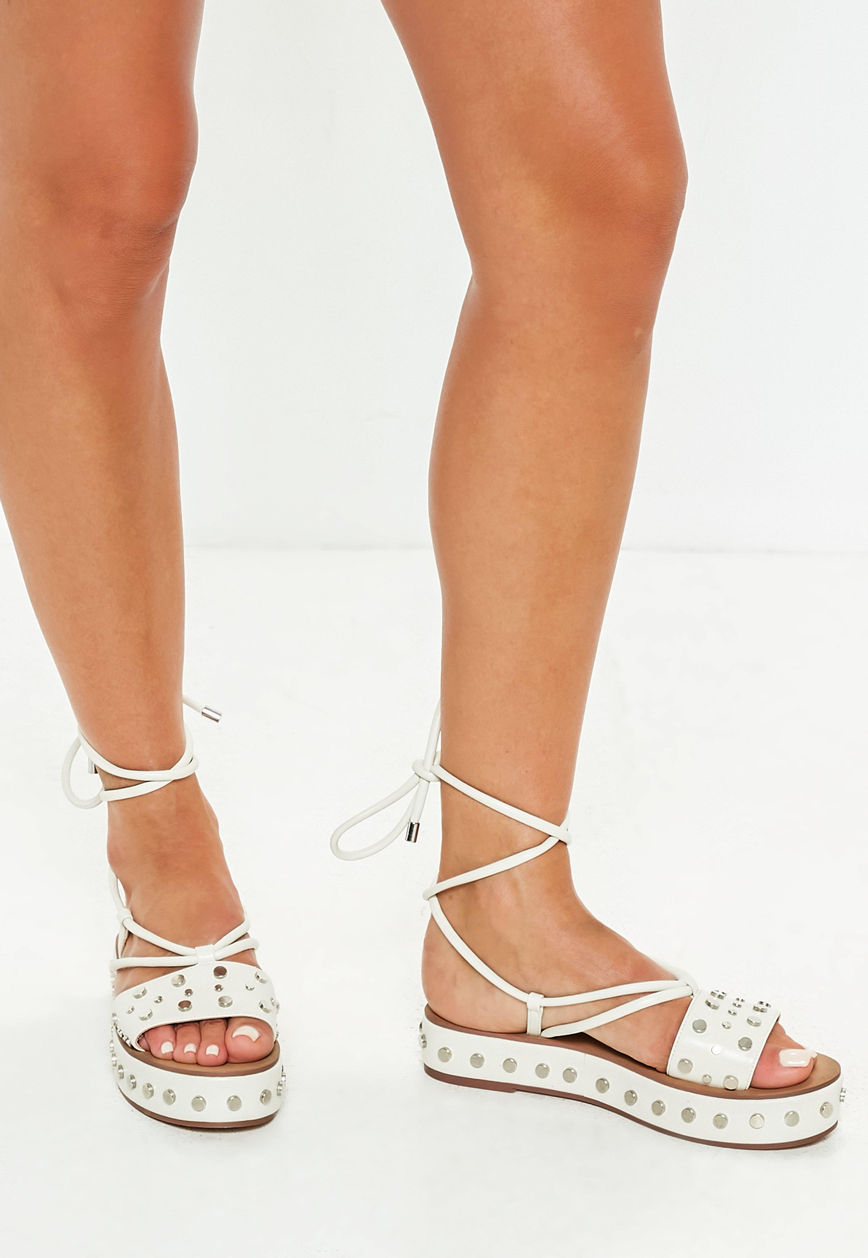 453a1a52743 Lyst - Missguided White Flatform Studded Ankle Tie Sandals in White