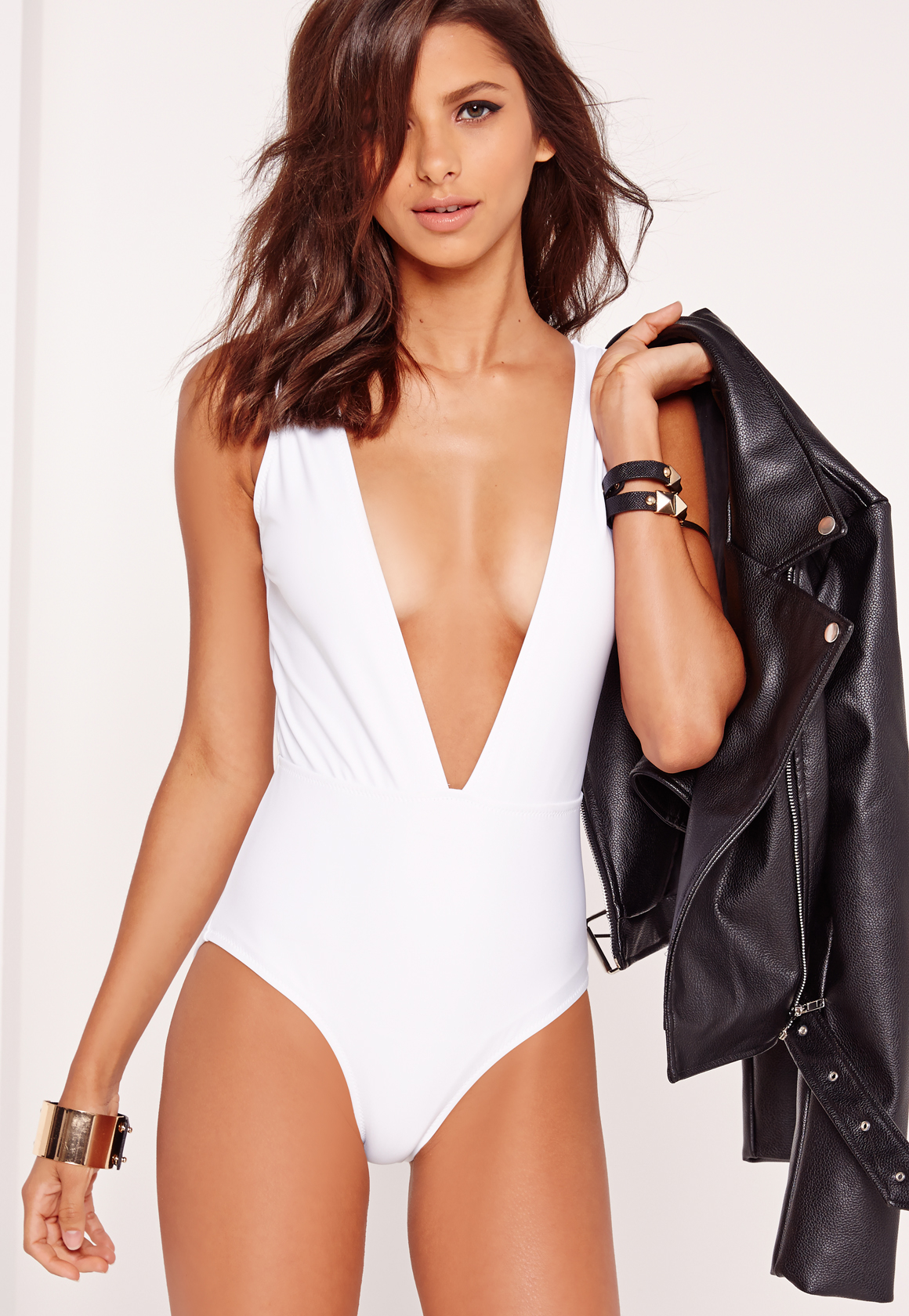 Missguided White Deep Plunge Neck Swimsuit In White Lyst