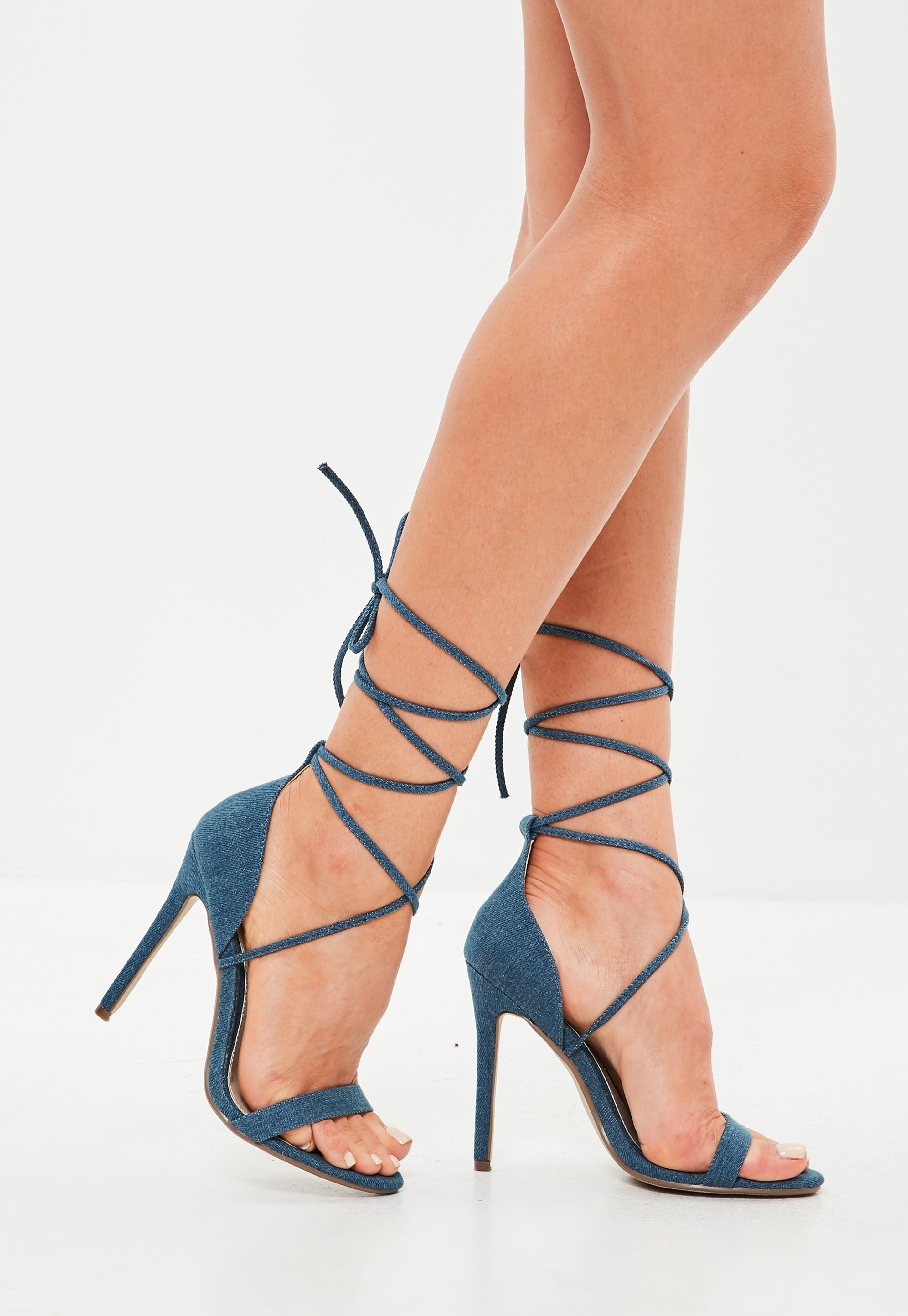d2a72dae5e6f Lyst - Missguided Blue Denim Lace Up Barely There Heeled Sandals in Blue