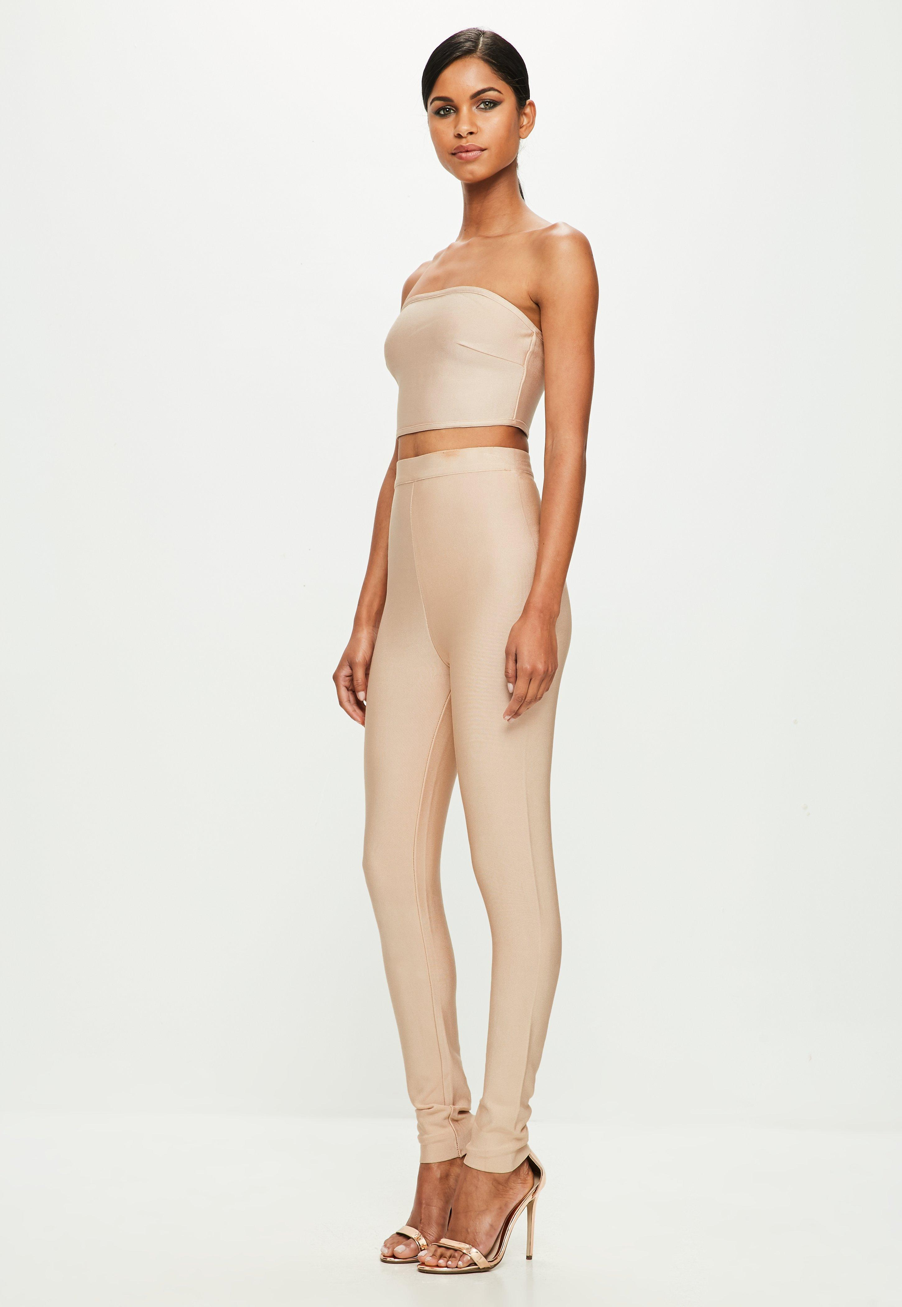 dfa5de35245 Missguided Peace + Love Nude Slim Fit Bandage Pants in Natural - Lyst