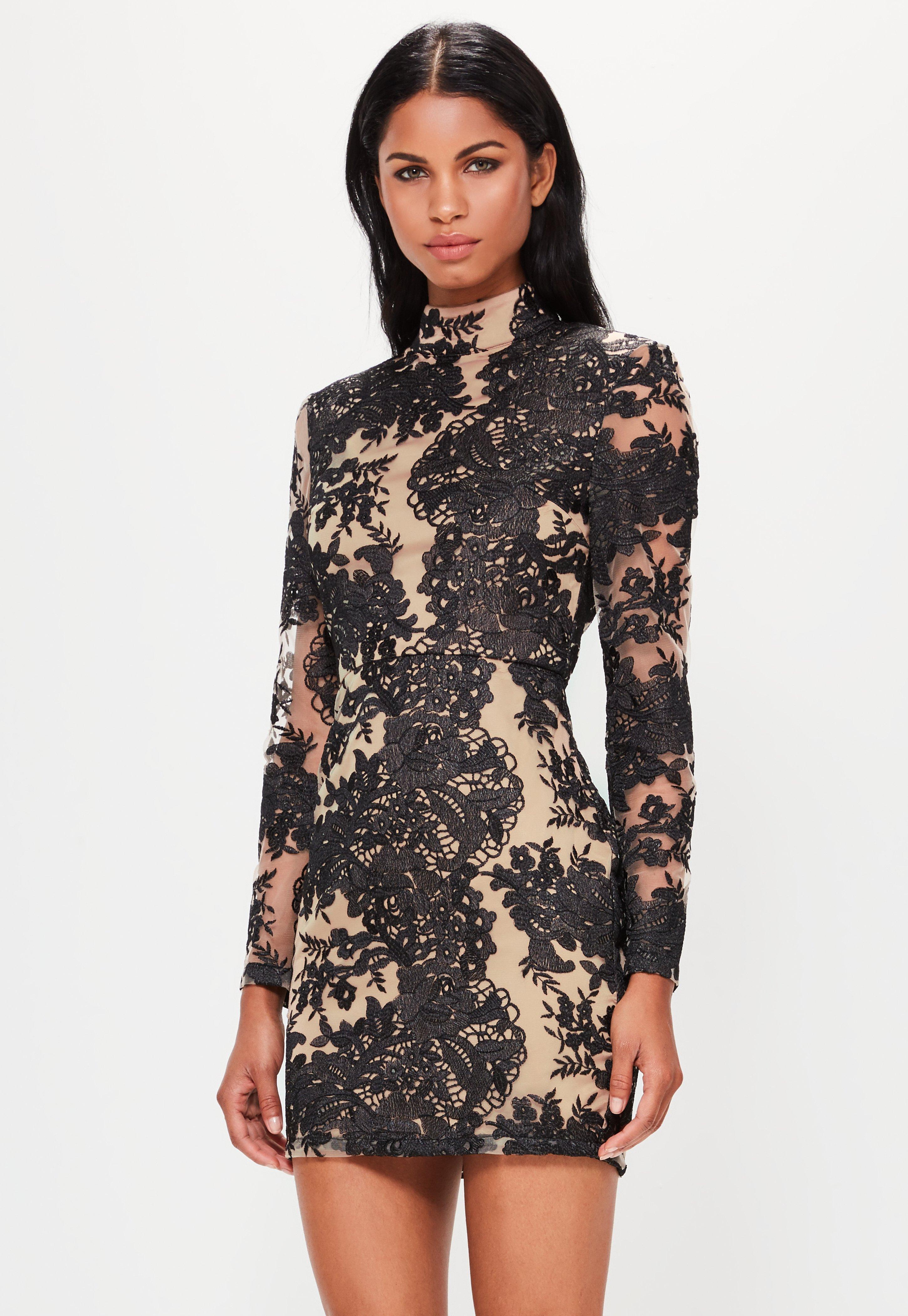 Black bandage lace up high neck bodycon dress