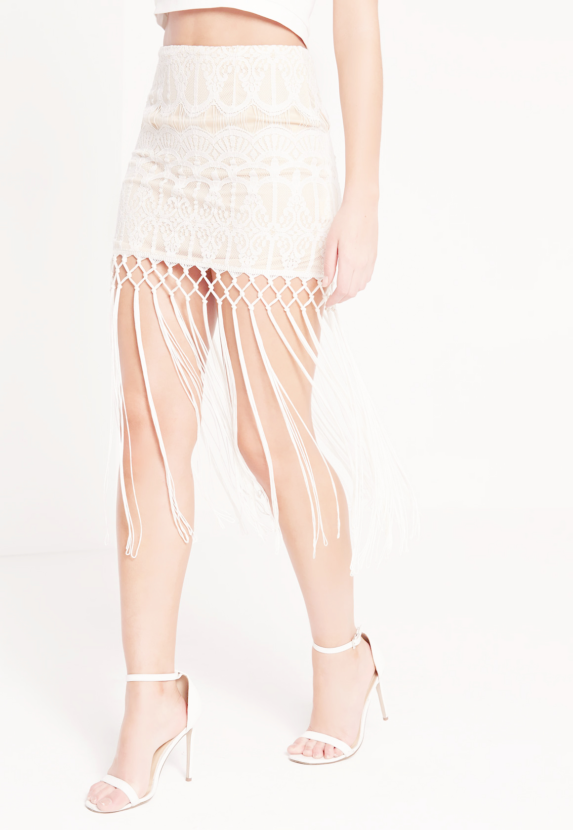missguided lace fringed midi skirt in white lyst