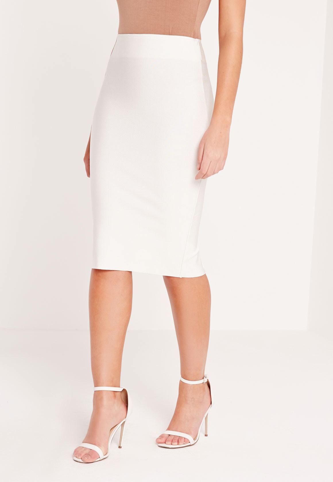 missguided premium bandage longline midi skirt white in