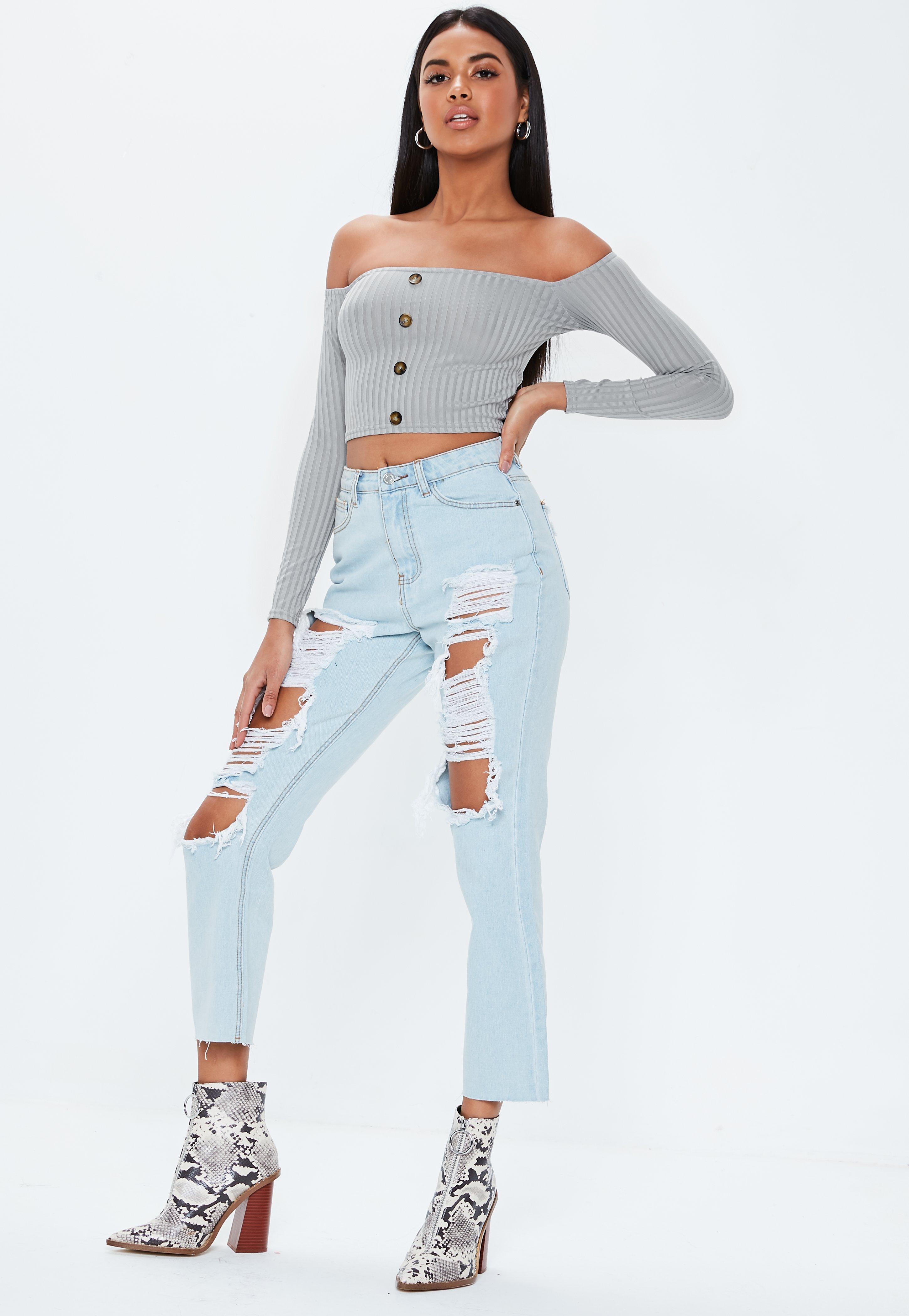 82f74a6dd3b2d Missguided - Petite Gray Bardot Ribbed Horn Button Crop Top - Lyst. View  fullscreen