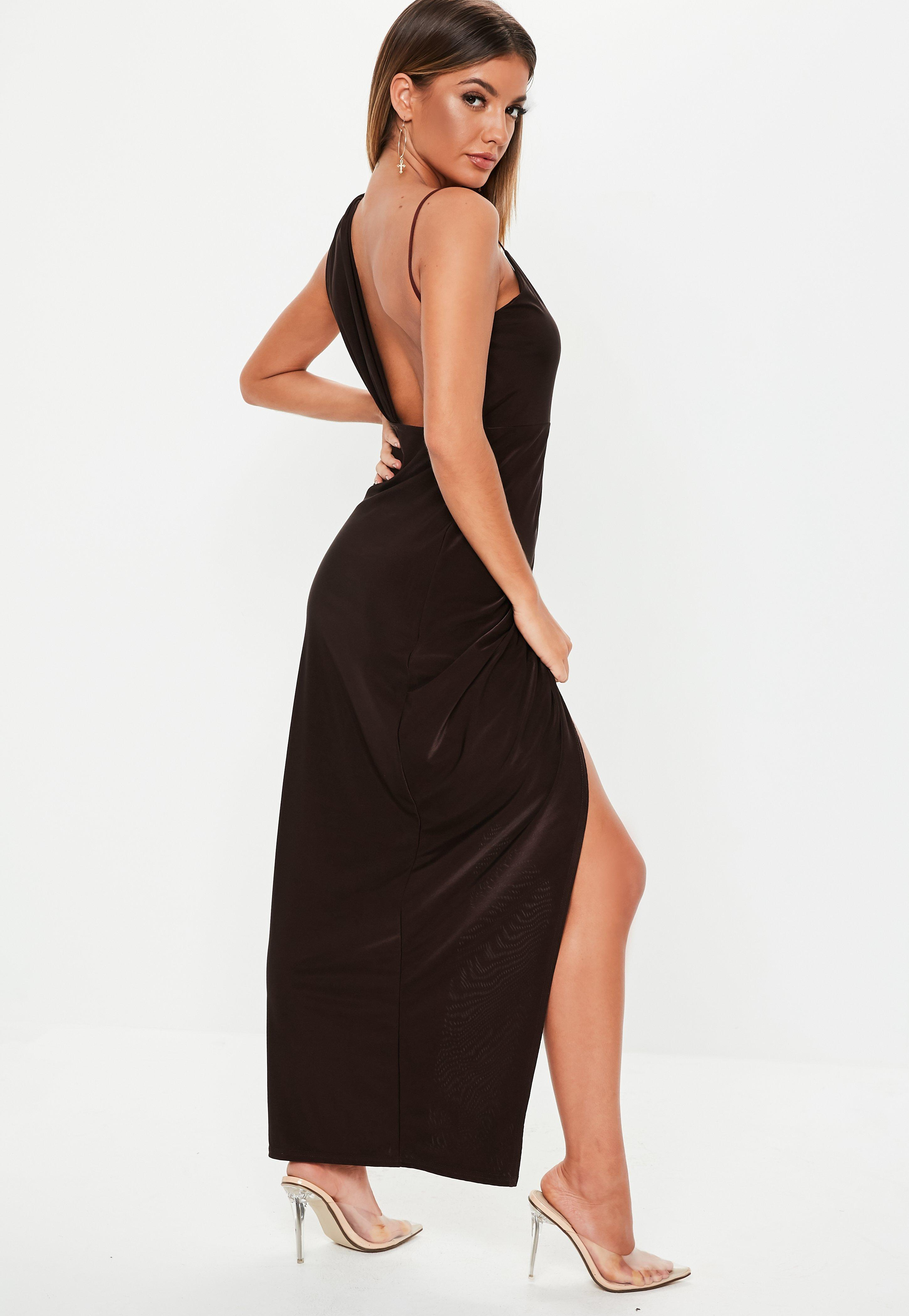 f07da5869e0b Missguided - Chocolate Brown Slinky Asymmetric Maxi Dress - Lyst. View  fullscreen