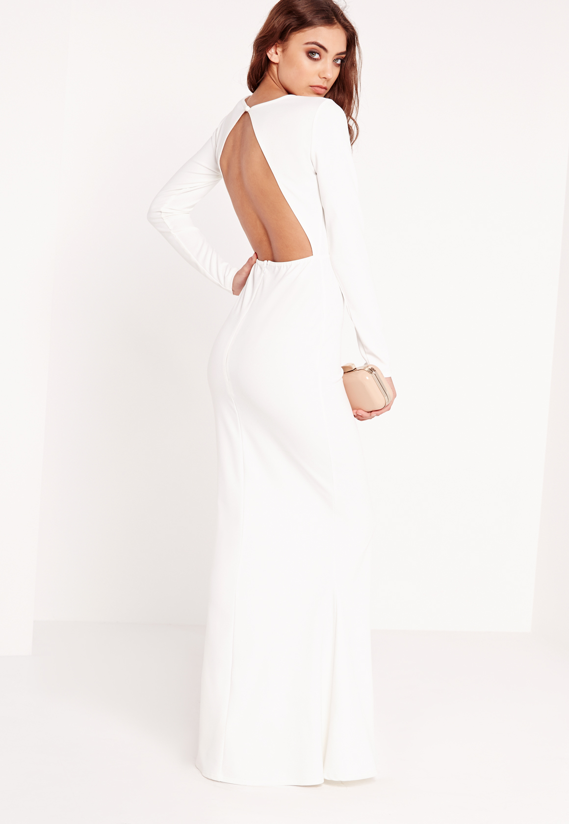 Missguided Long Sleeve Open Back Maxi Dress White in White