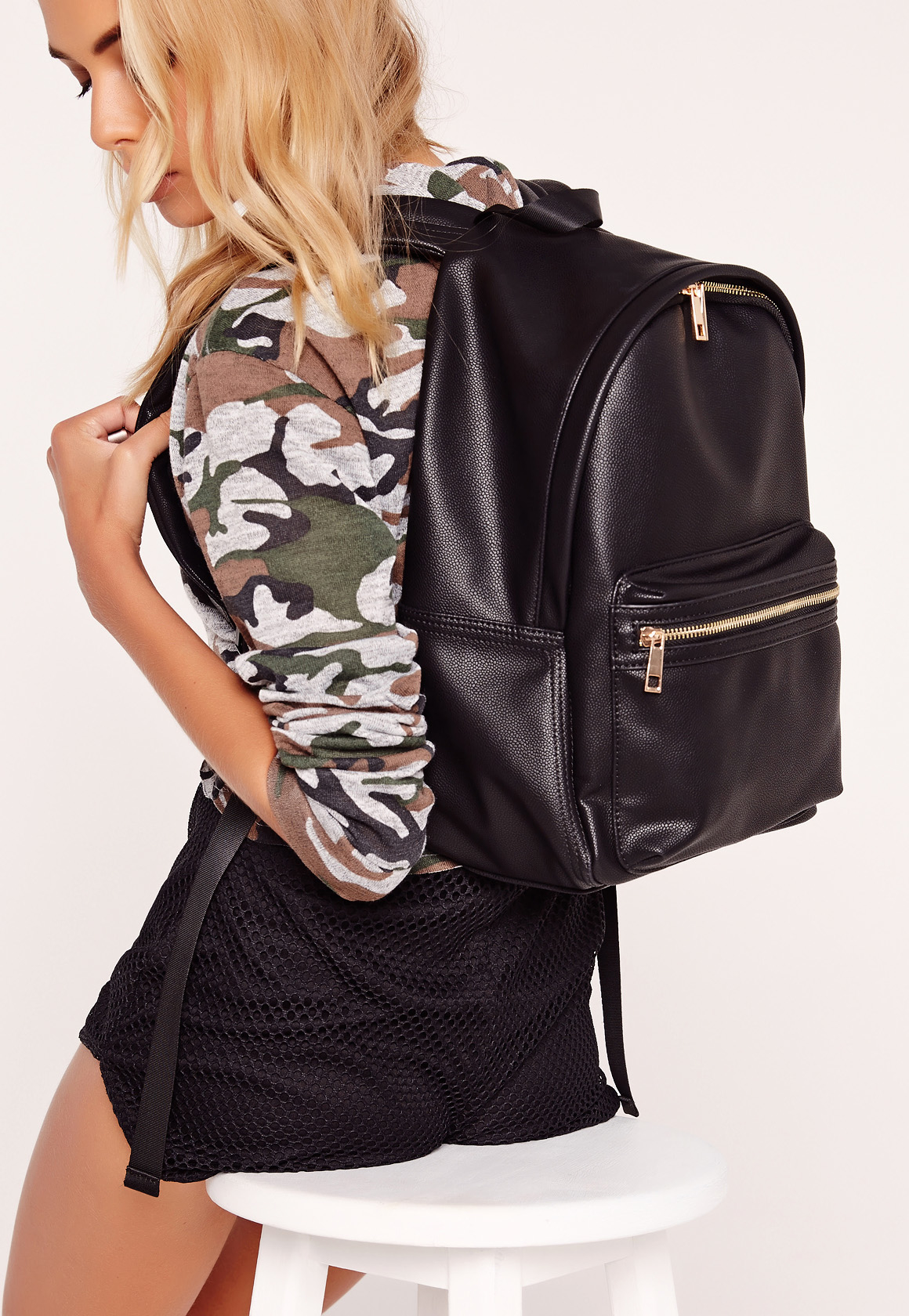 missguided sports luxe backpack black in black lyst. Black Bedroom Furniture Sets. Home Design Ideas