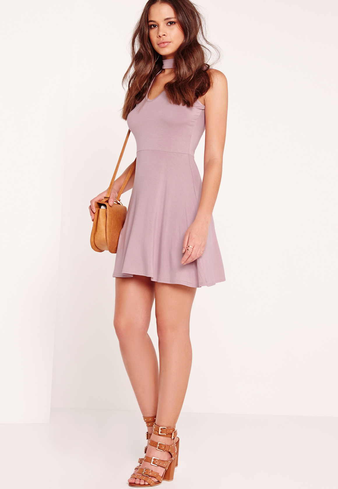 Missguided Choker Neck Skater Dress Lilac in Purple