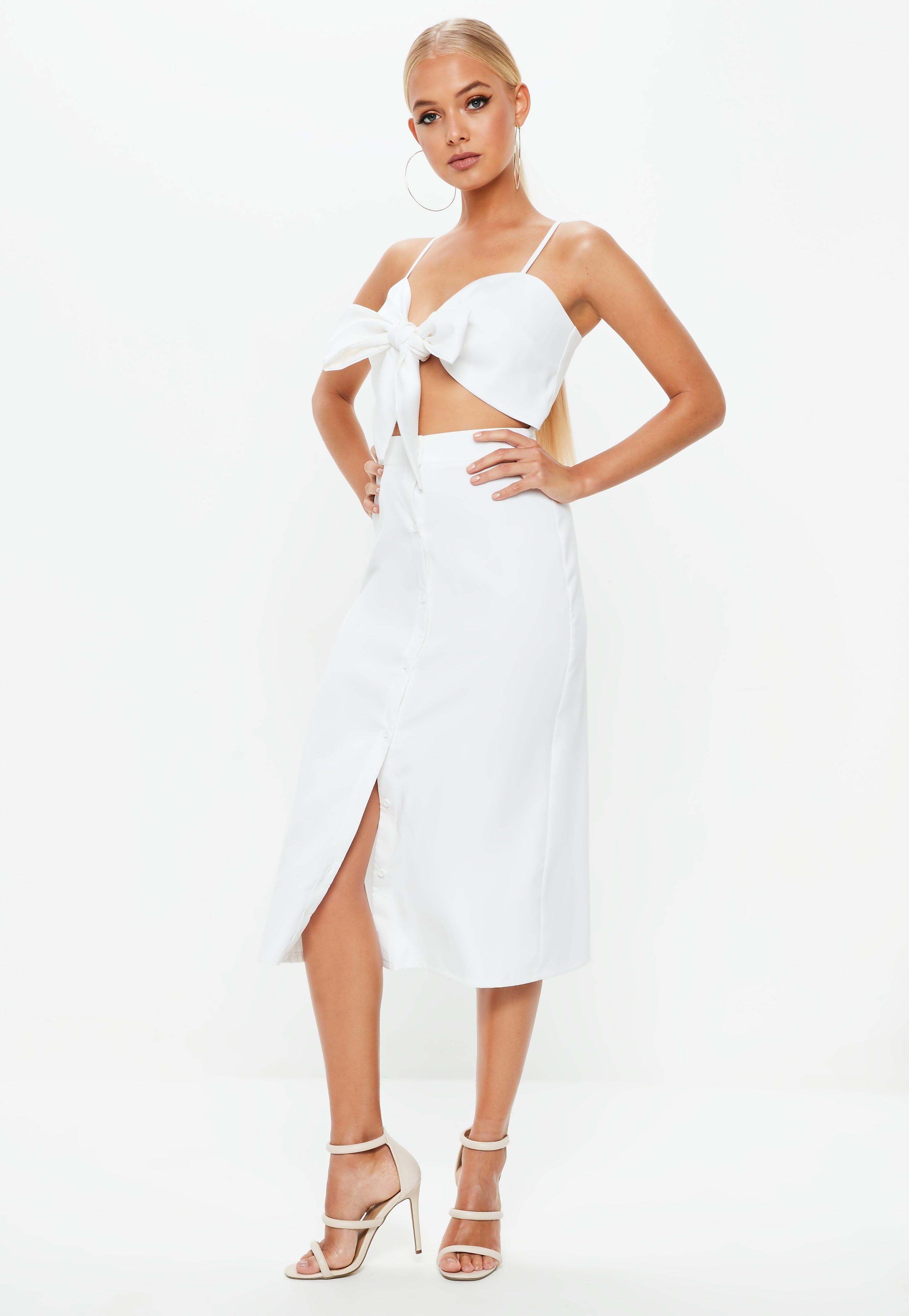 bd7dca40f39 Missguided - White Tie Front Button Down Strappy Midi Dress - Lyst. View  fullscreen