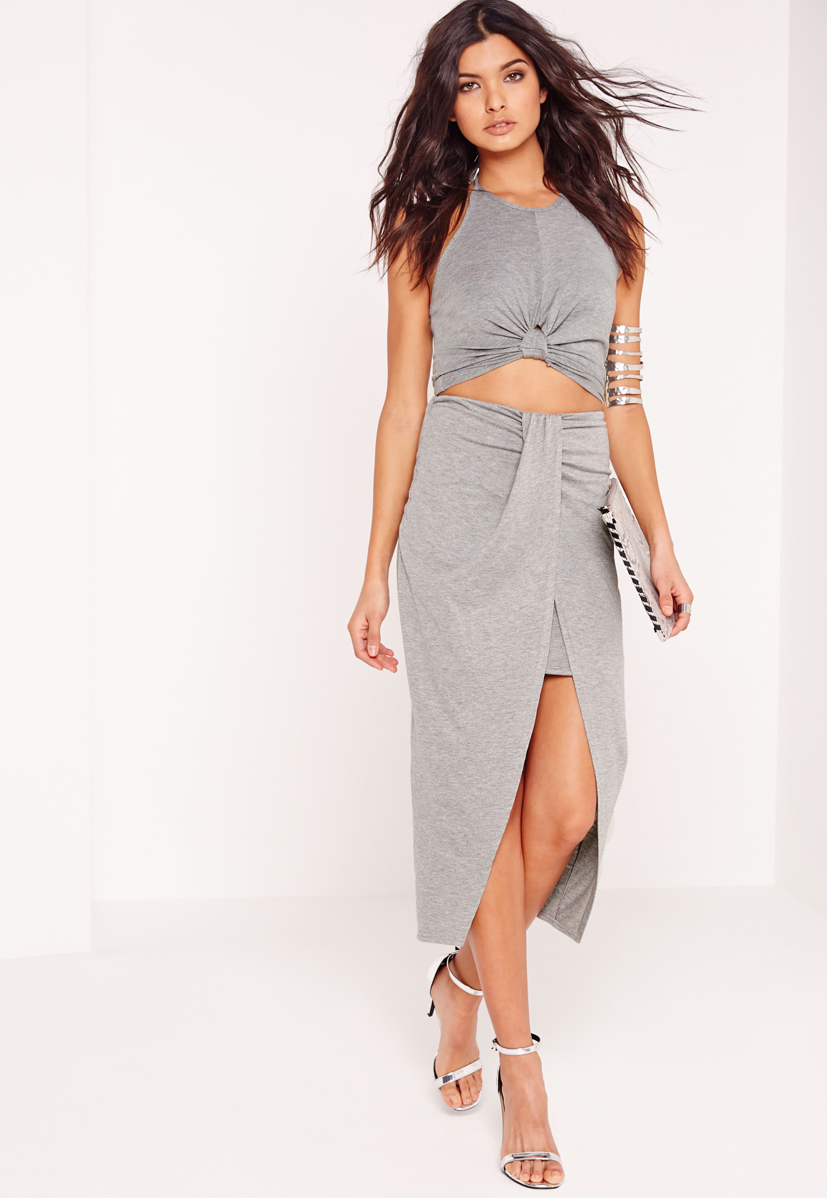missguided pleat front jersey midi skirt grey in gray lyst