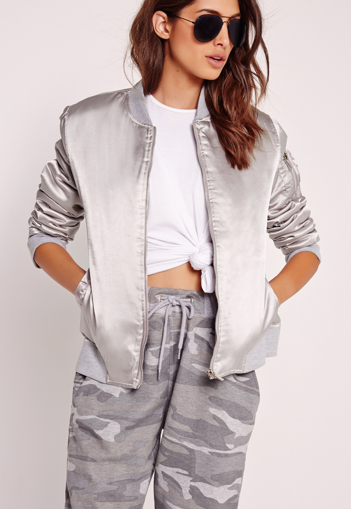 Missguided Silver Satin Bomber Jacket in Metallic