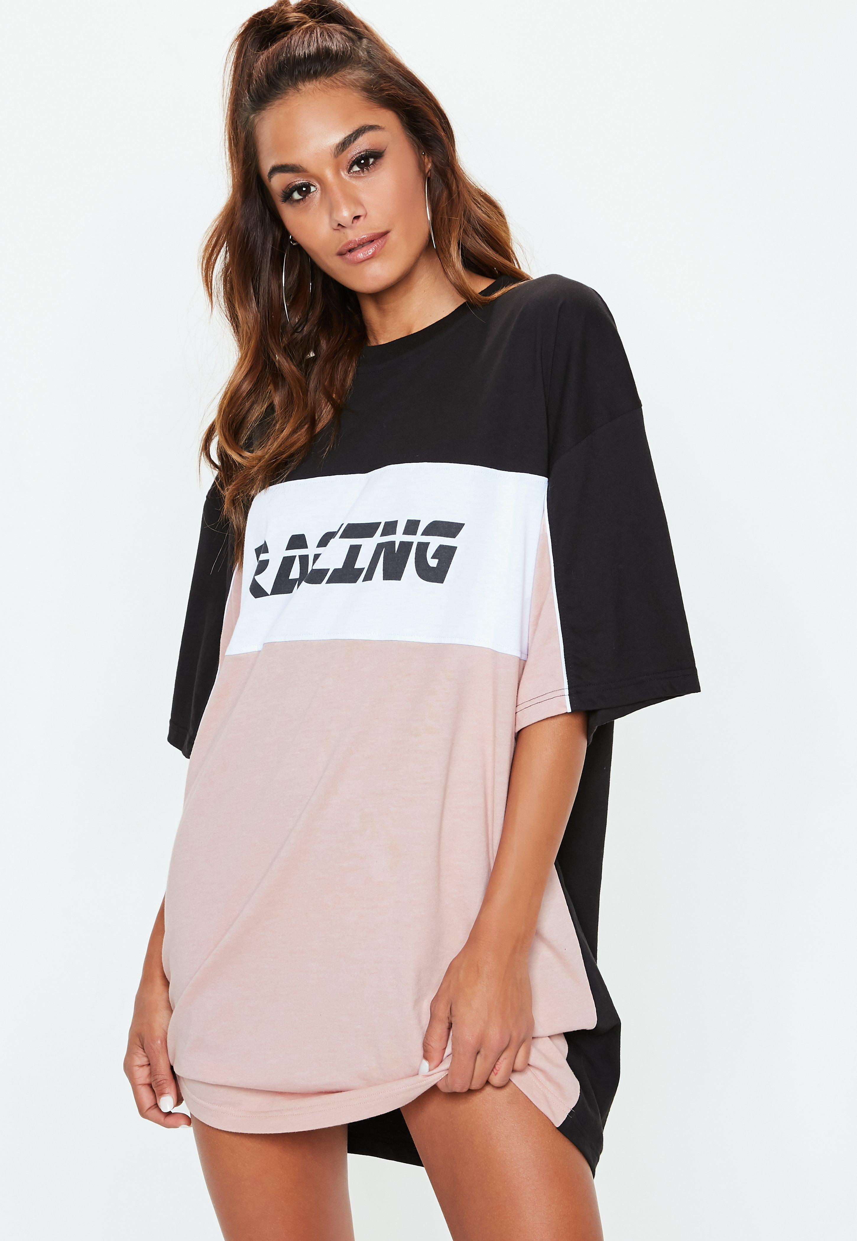 d9aba776e8 Lyst - Missguided Black Racing Slogan Oversized T Shirt Dress in Black