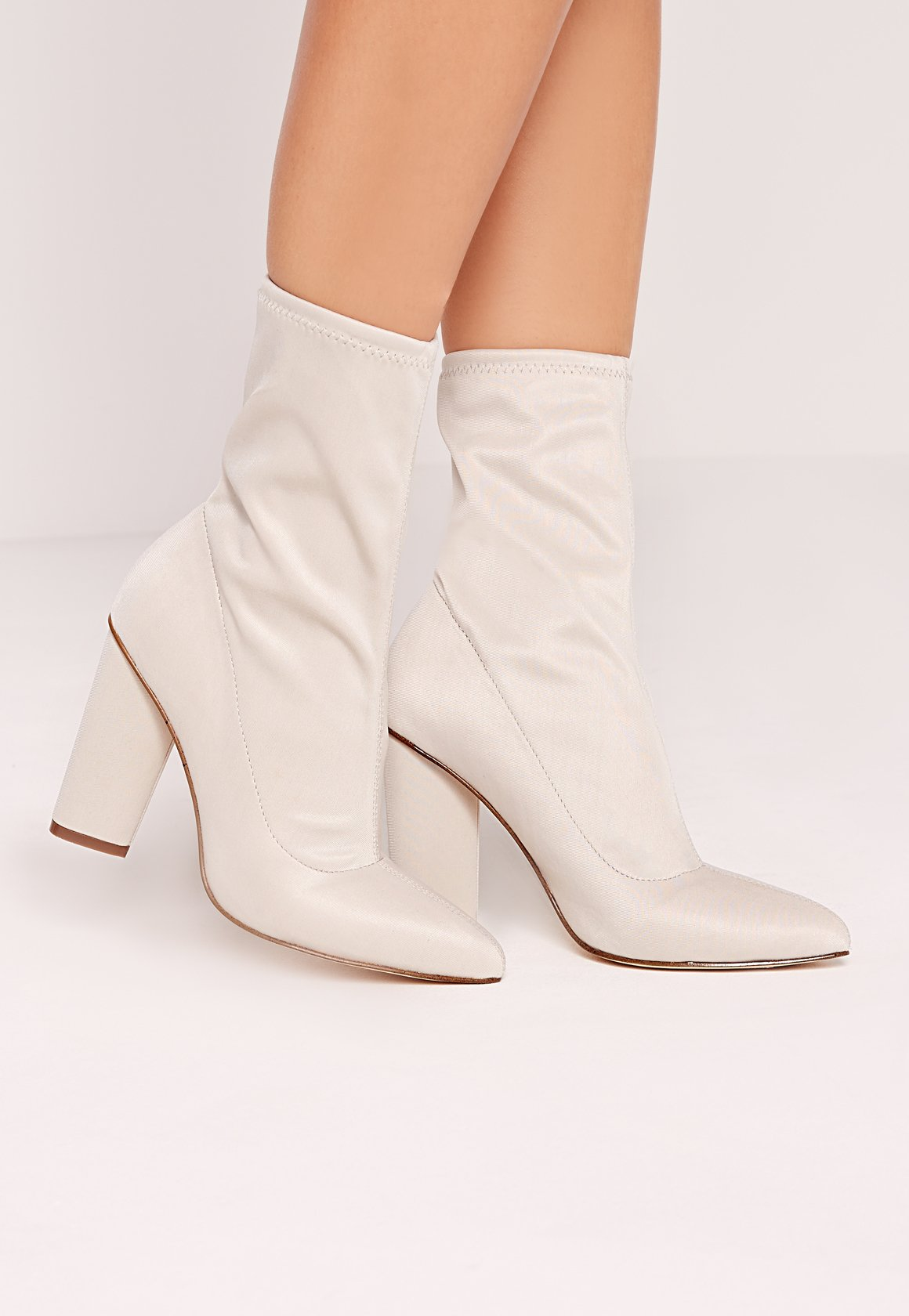 missguided pointed toe neoprene heeled ankle boots cream. Black Bedroom Furniture Sets. Home Design Ideas