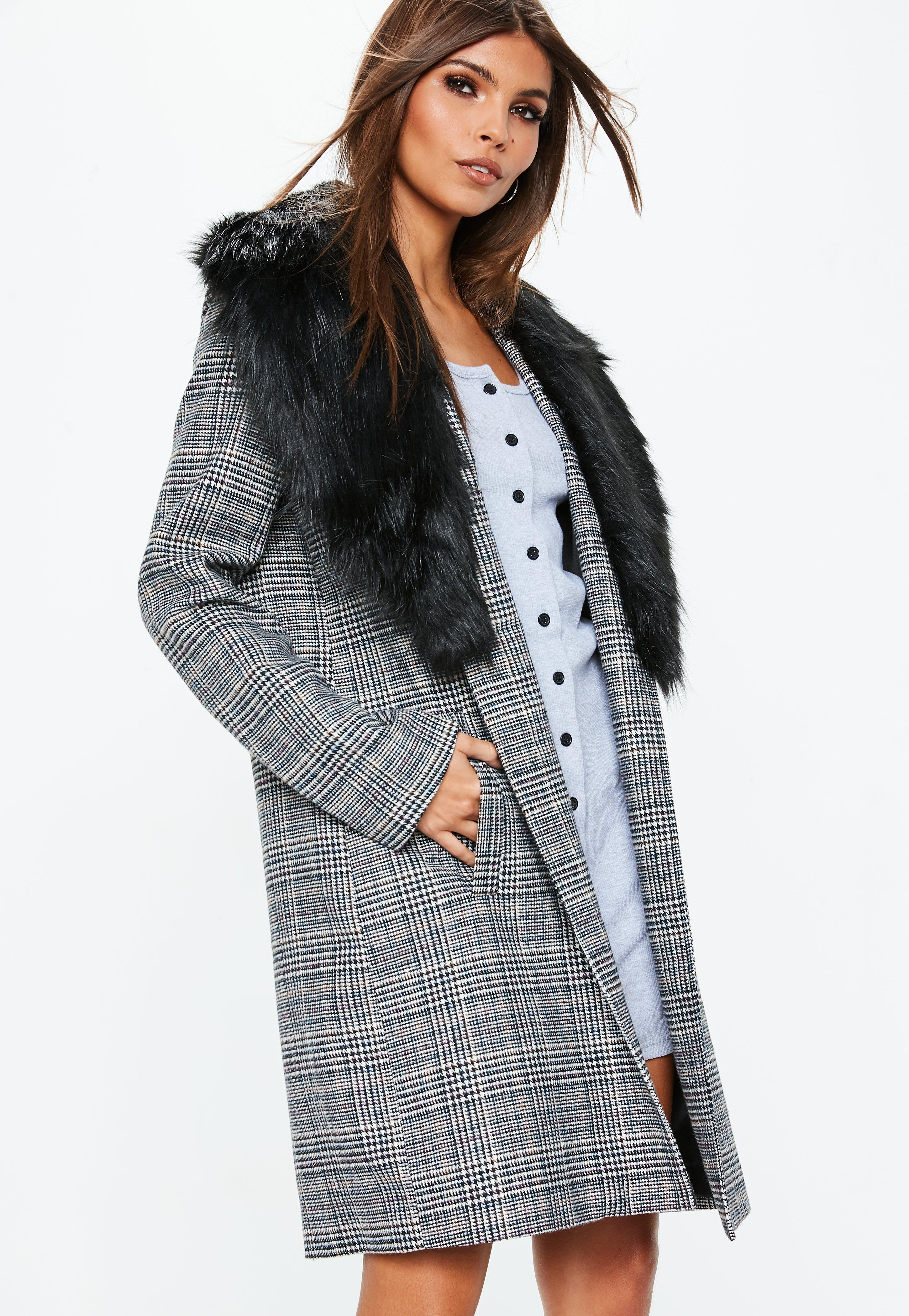 a0219497253e Lyst - Missguided Grey Faux Fur Collar Check Coat in Gray - Save 50.0%