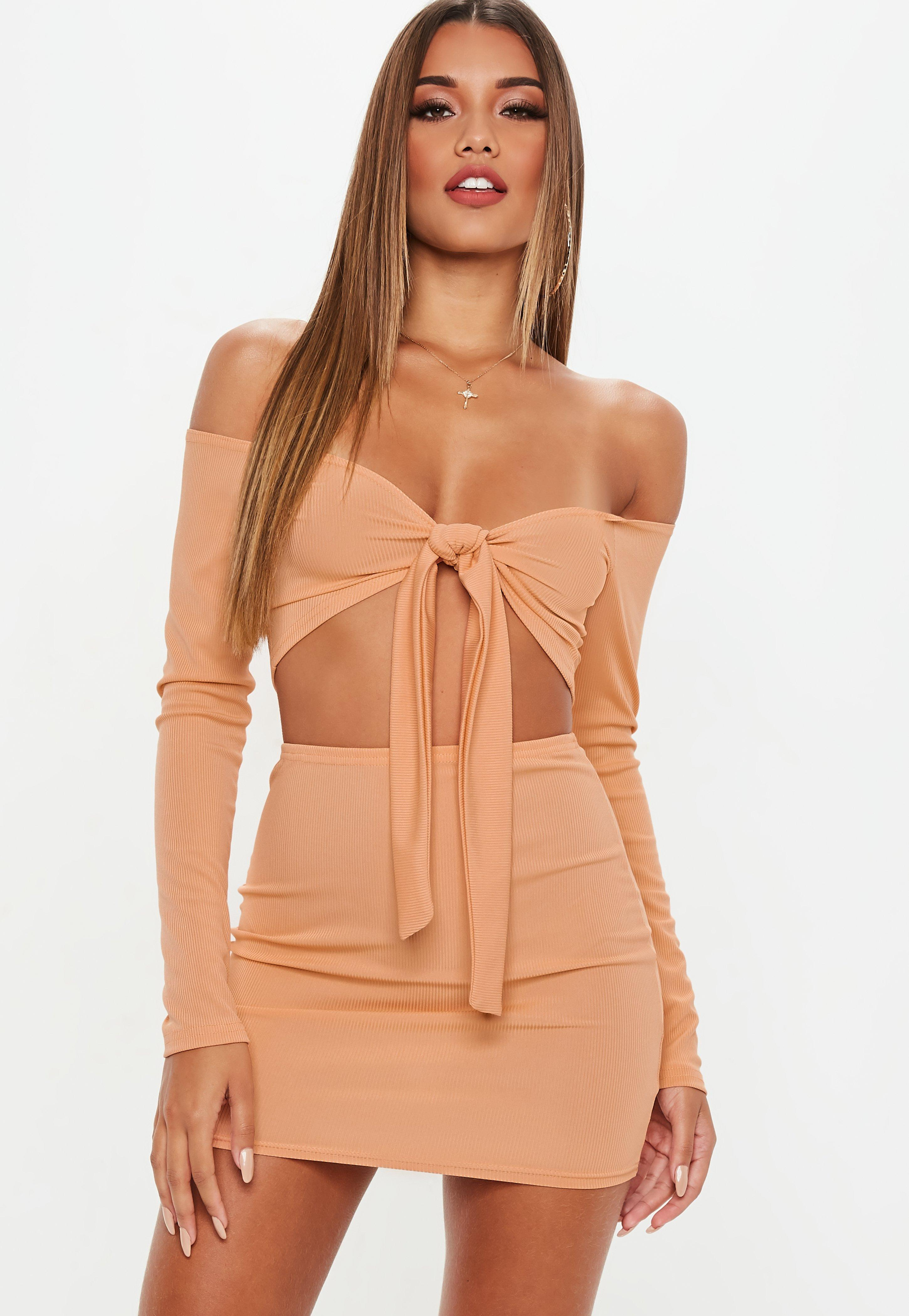 ee02b961d139 Lyst - Missguided Camel Ribbed Mini Skirt And Tie Front Top Co Ord ...