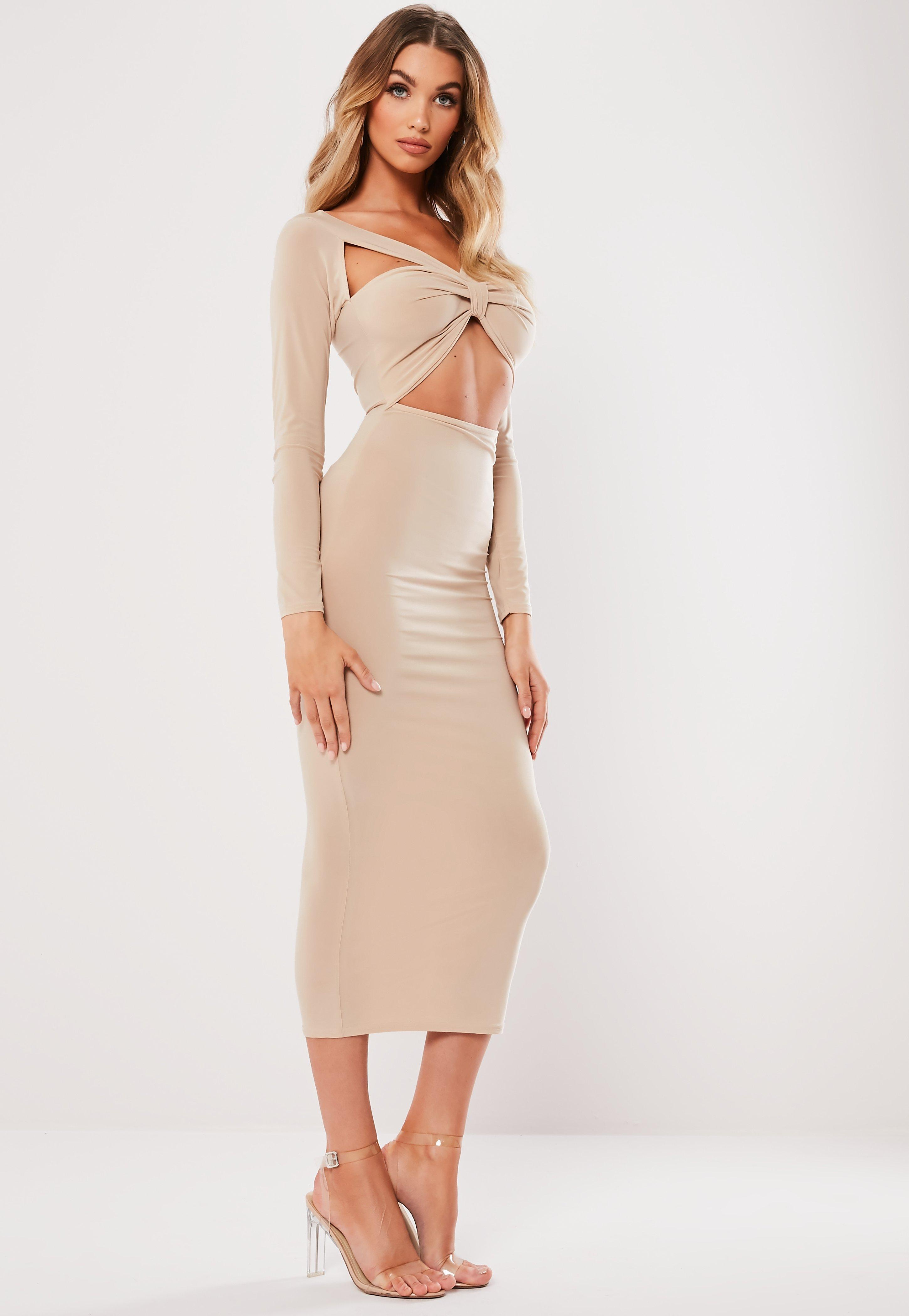 6606130257bb Lyst - Missguided Stone Slinky Cut Out Knot Front Midi Dress in Natural