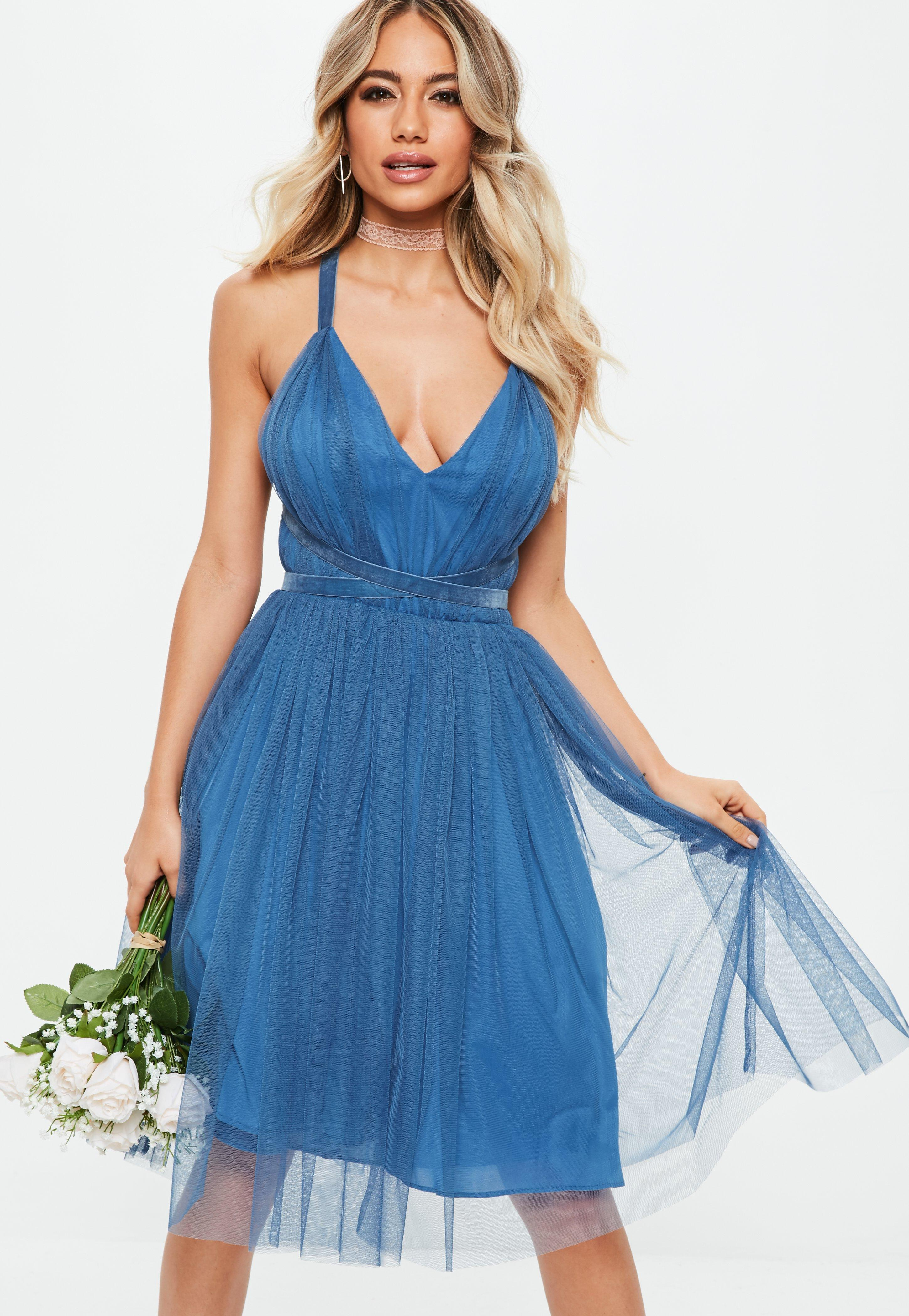 Lyst - Missguided Bridesmaids Blue Mesh Plunge Mini Skater Dress in Blue