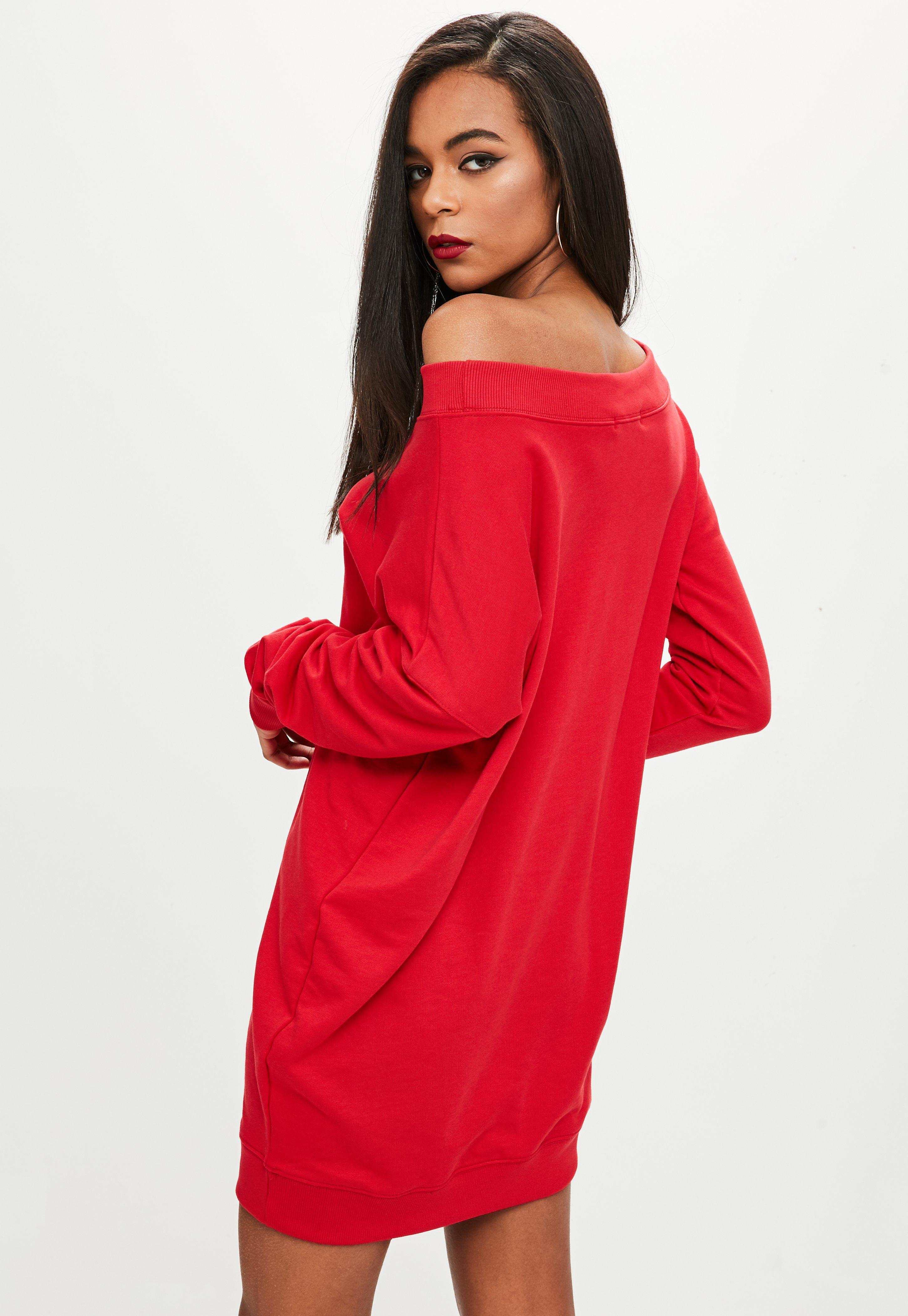 Missguided Red Off The Shoulder Sweater Dress in Red | Lyst