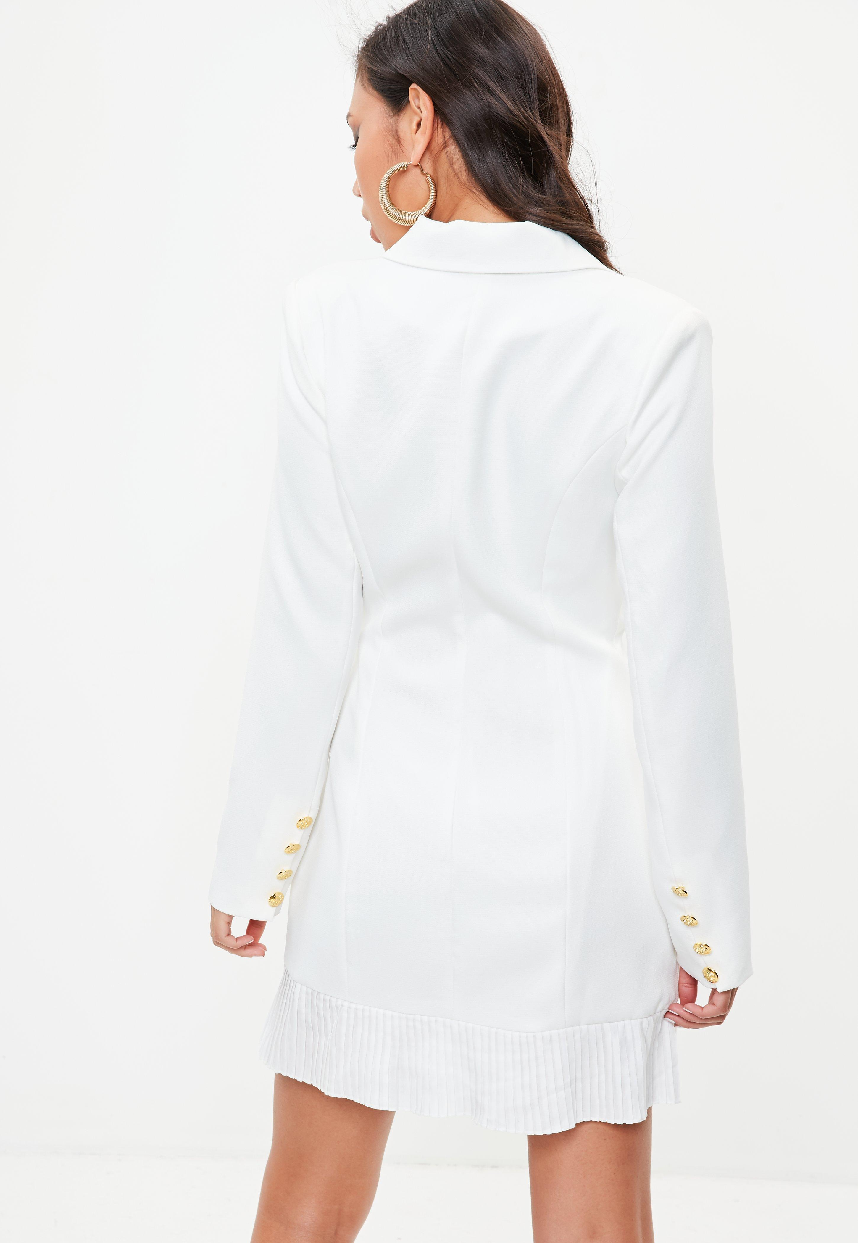 aa2664286275 Missguided Tall White Tailored Gold Button Blazer Dress in White - Lyst